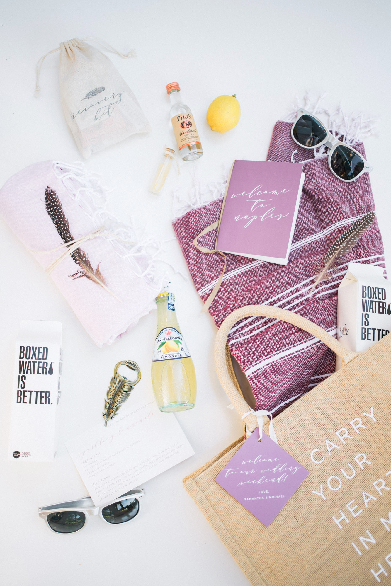 welcome bag with gifts