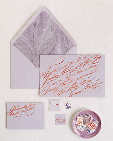 Lavender and Red Stationery