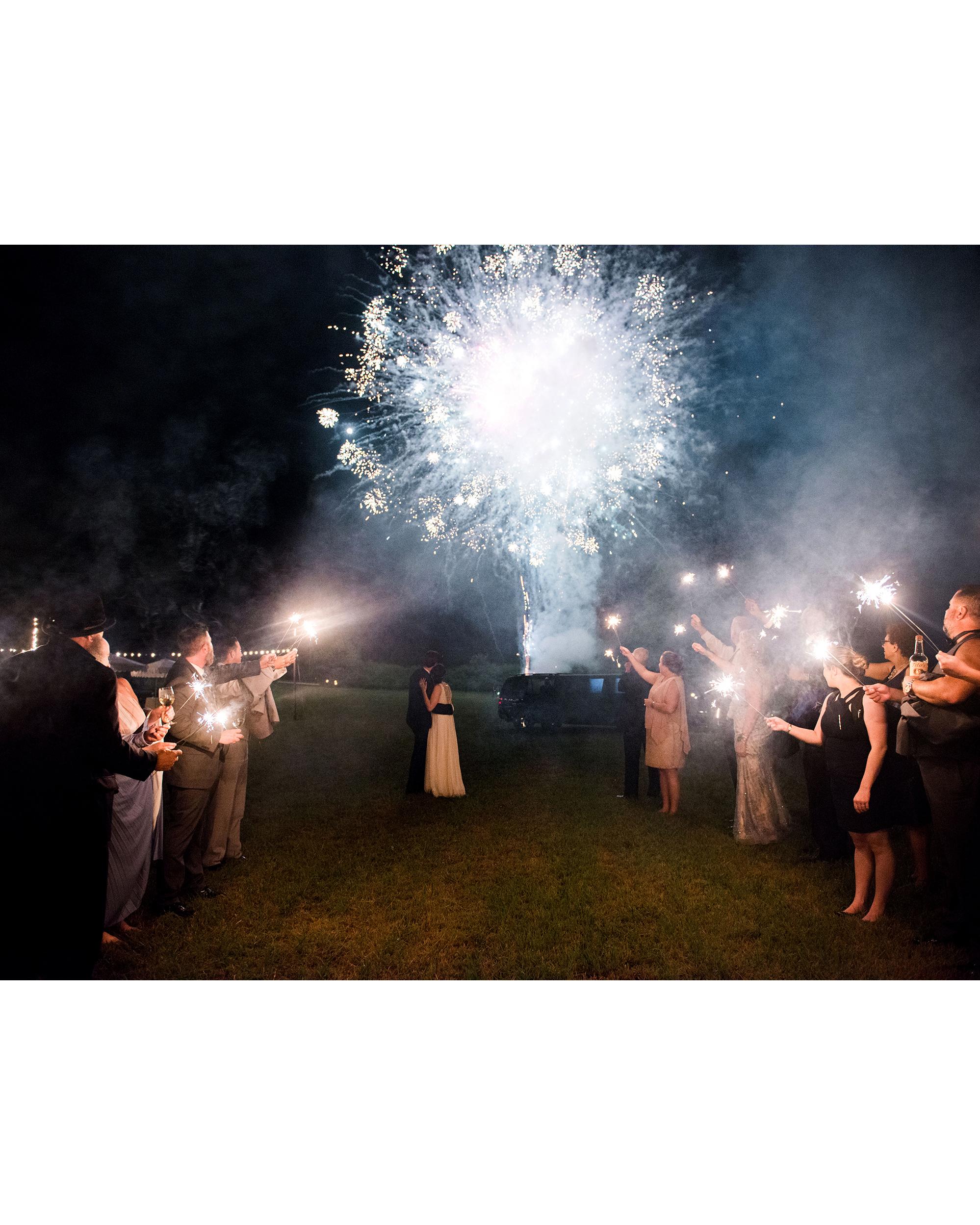 dani jackson wedding fireworks and sparklers