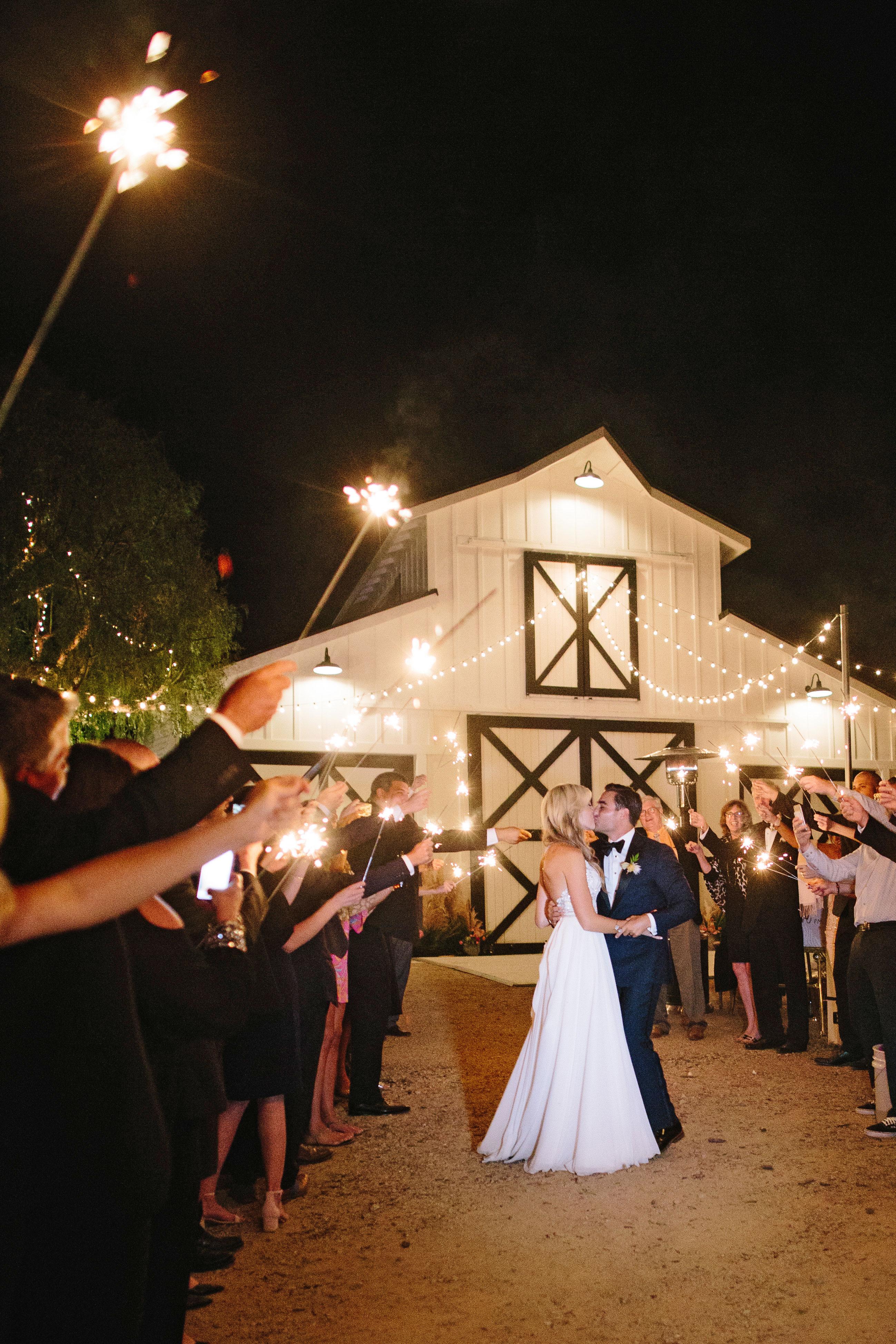 stephanie jared wedding sparklers
