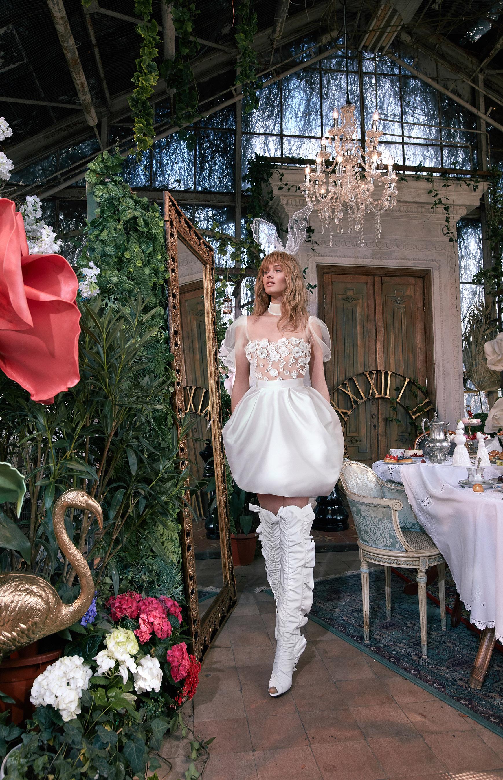 puffed tulle sleeves floral applique bodice short puffed skirt wedding dress Gala by Galia Lahav Spring 2020