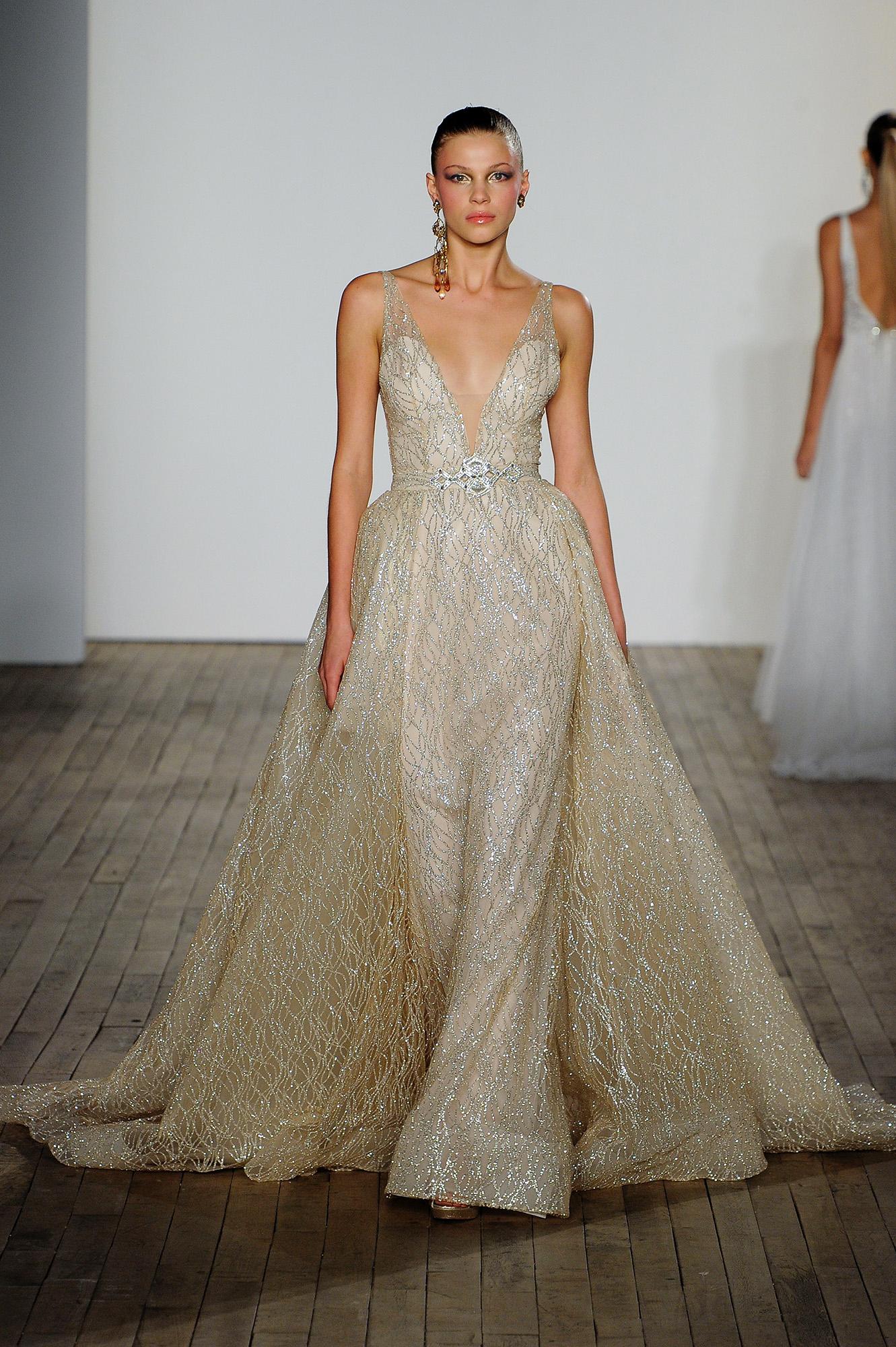 lazaro fall 2019 v-neck sheath gold glitter wedding dress
