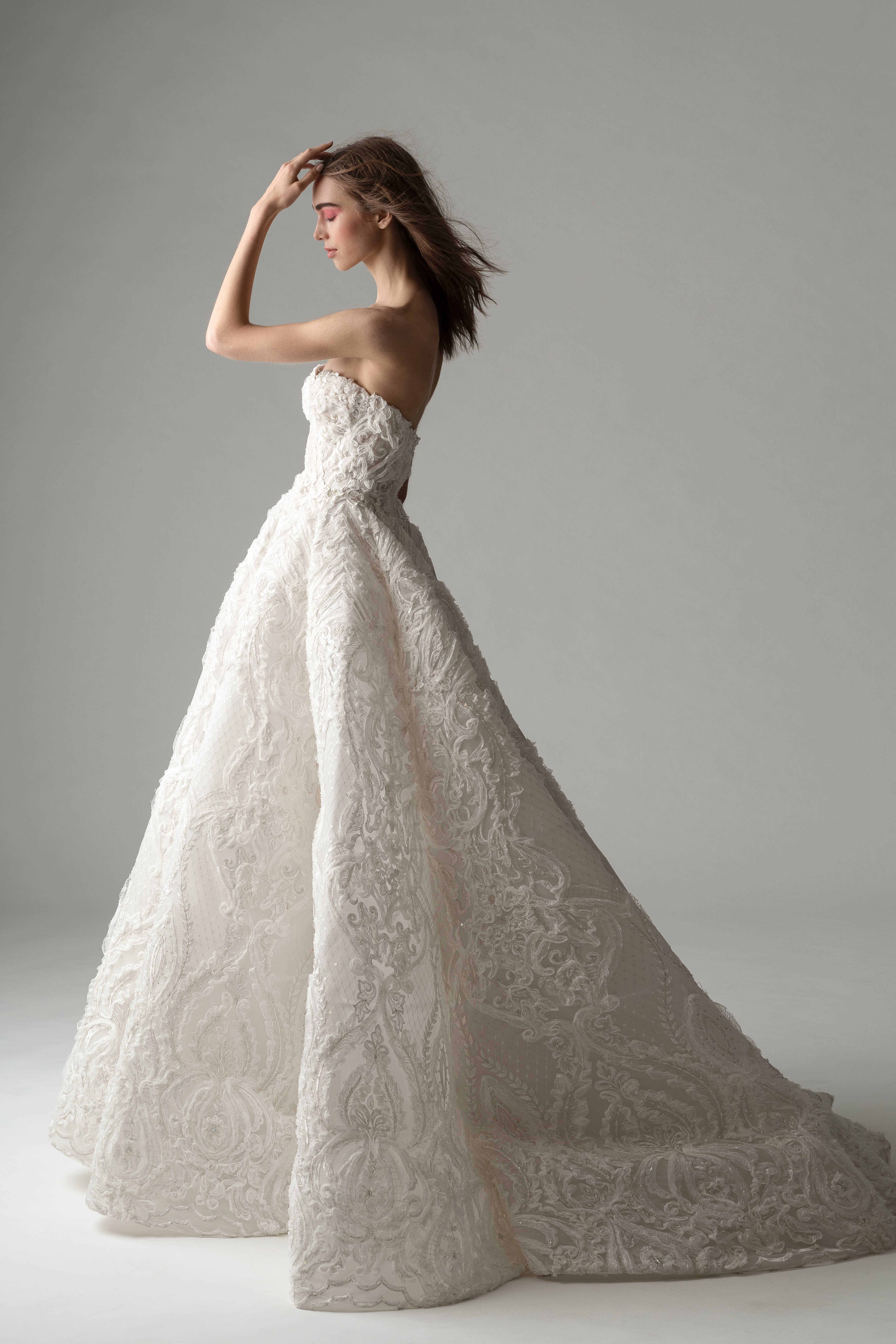 rivini by rita fall 2019 strapless floral applique a-line wedding dress