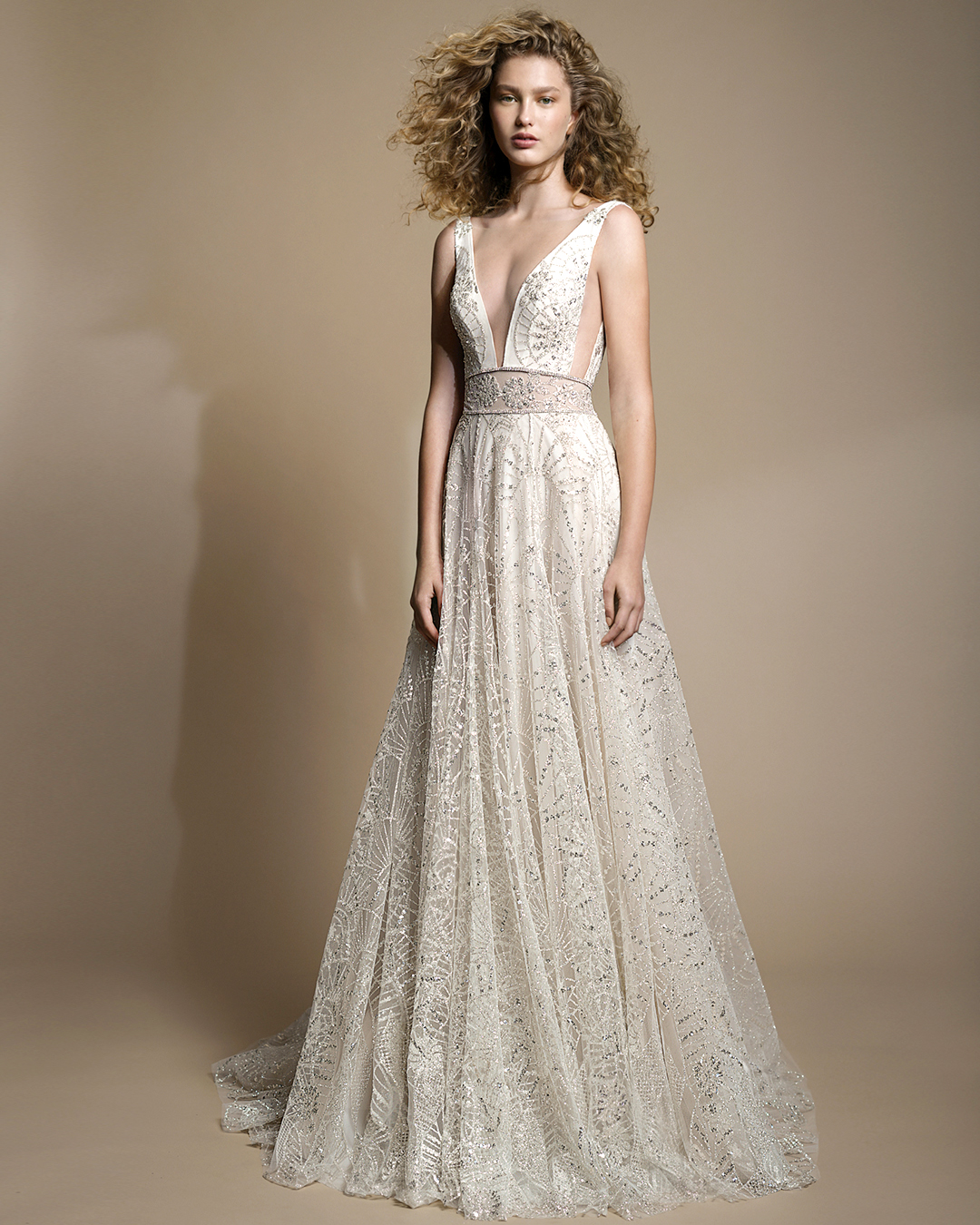 galia lahav gala wedding dress spring 2019 v-neck sparkly a-line