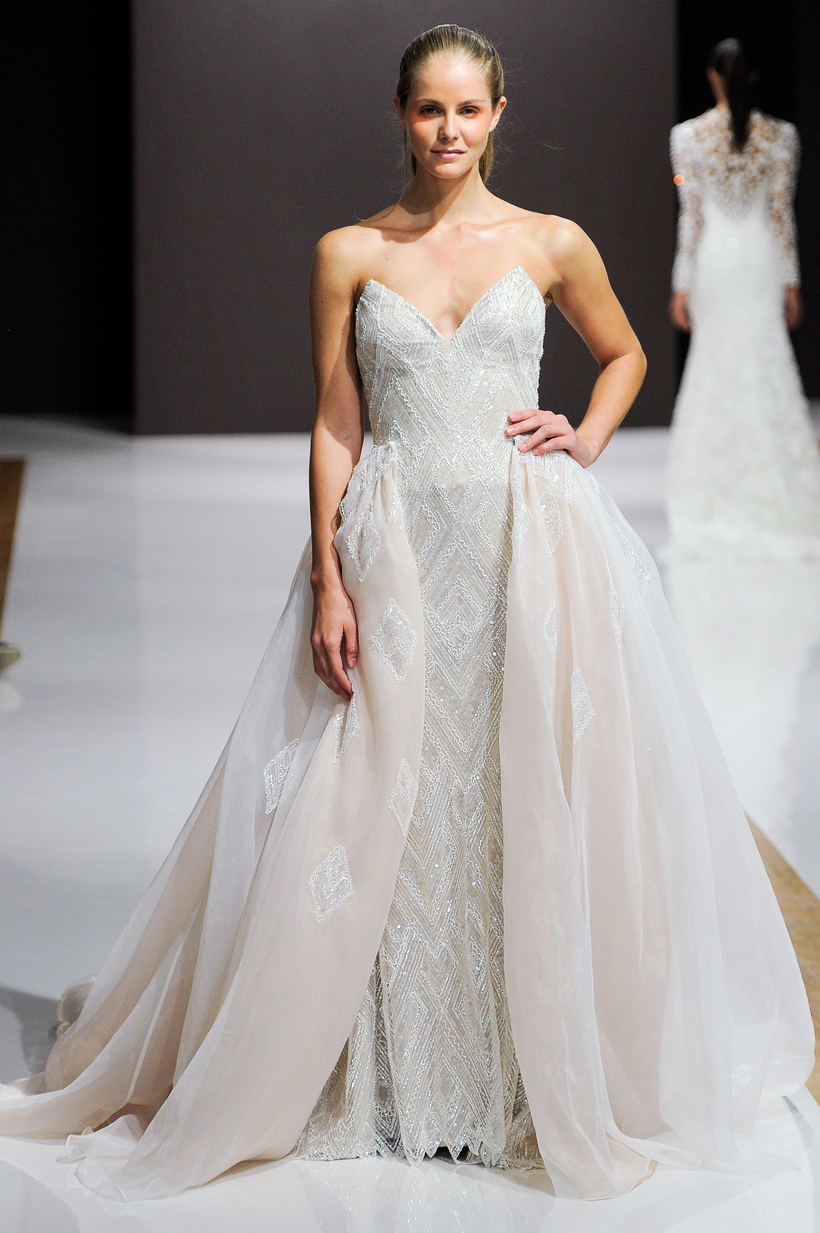 mark zunino wedding dress fall 2018 strapless beaded tulle overlay
