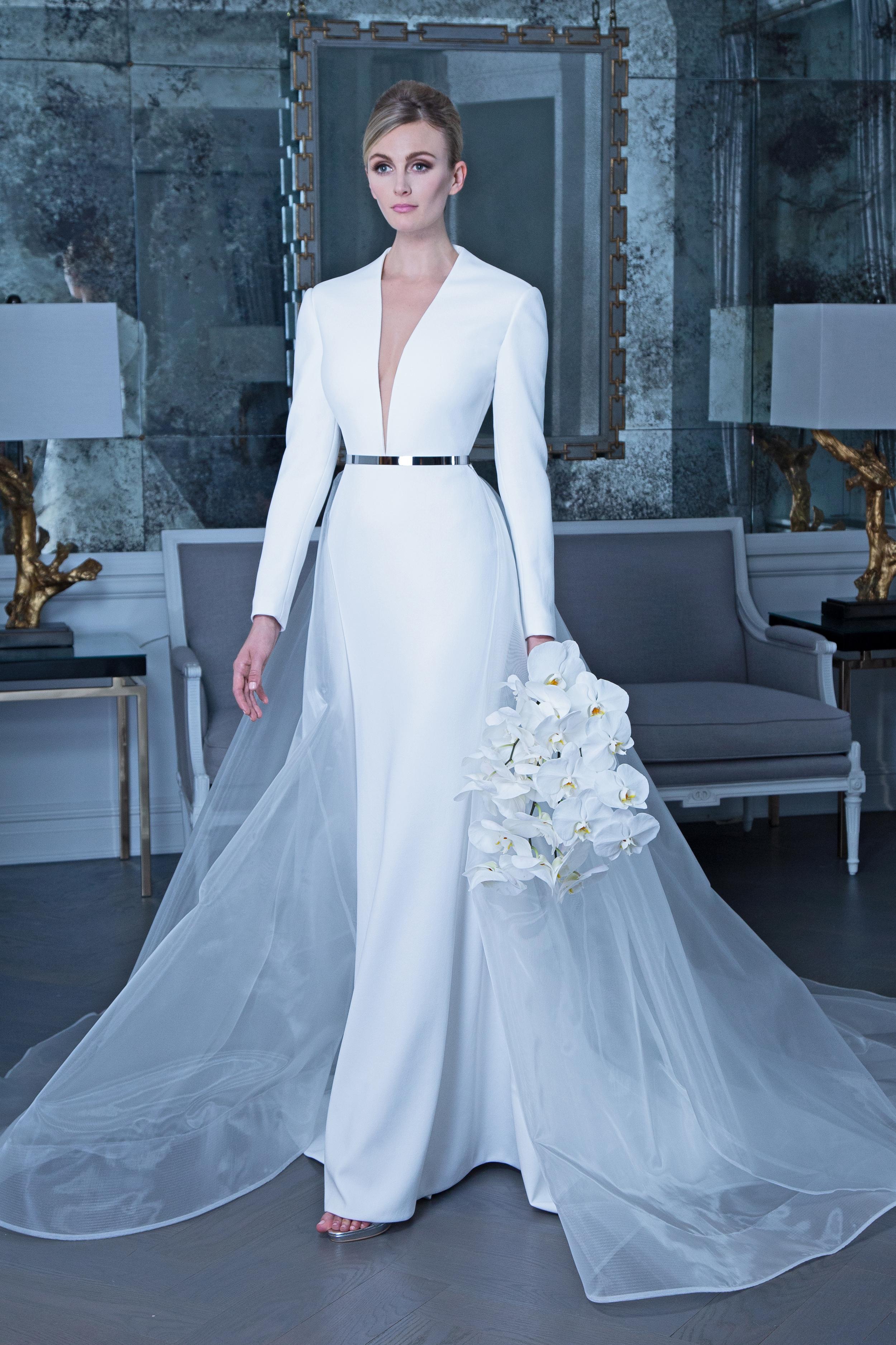 Romona long sleeve wedding dress with belt fall 2019