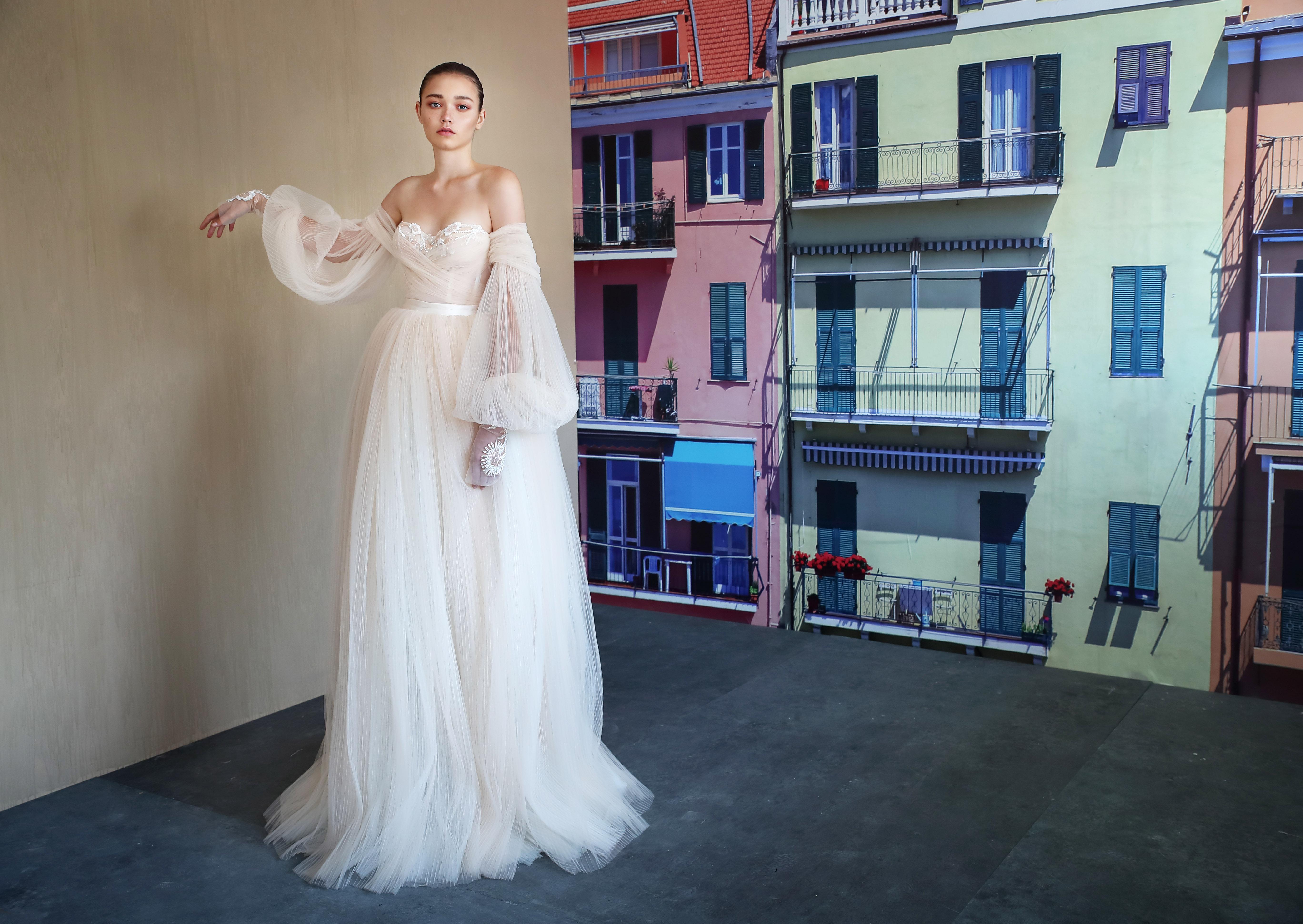 galia lahav off the shoulder sheer long sleeves wedding dress fall 2019