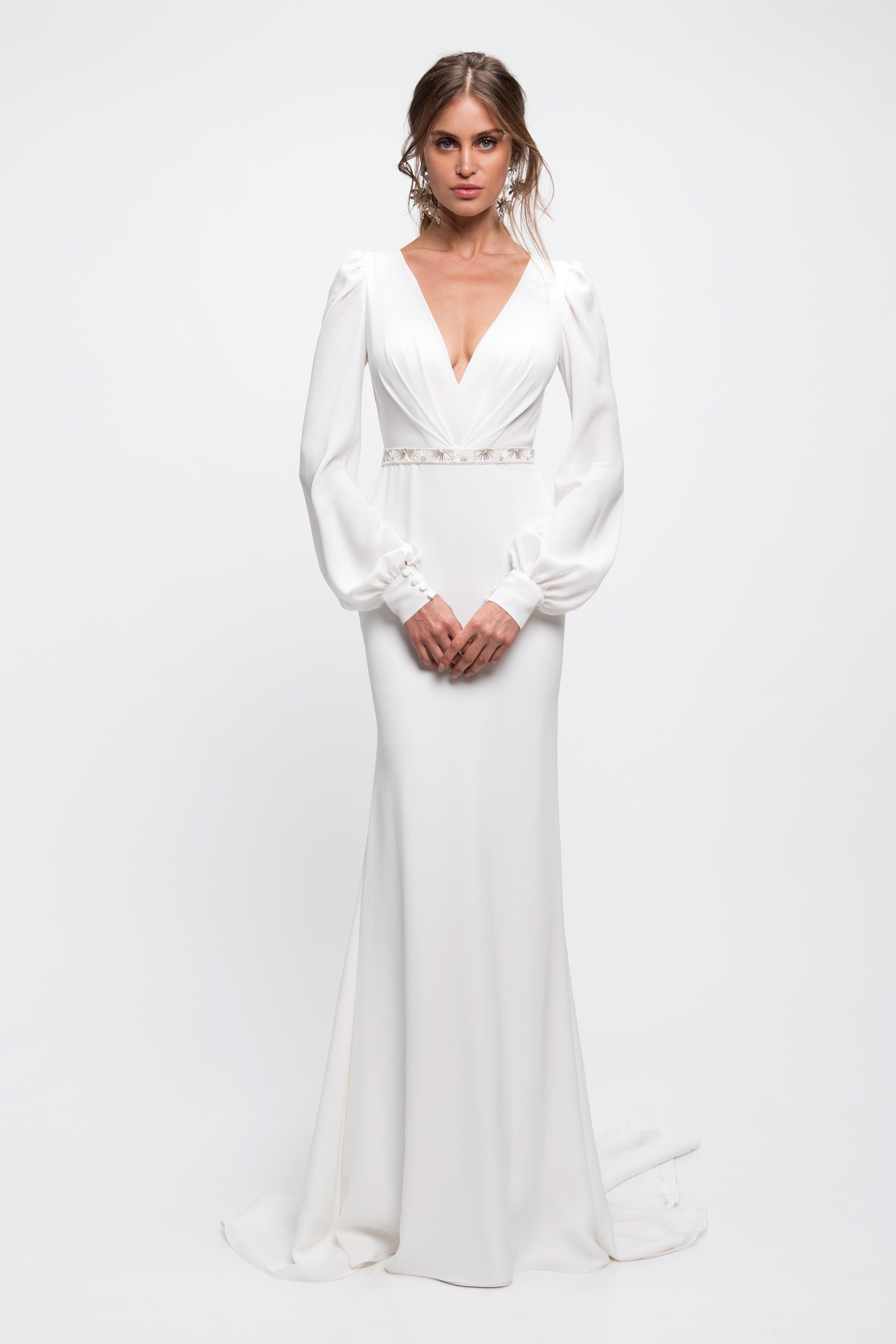 lihi hod wedding dress bell sleeves v-neck beaded belt trumpet