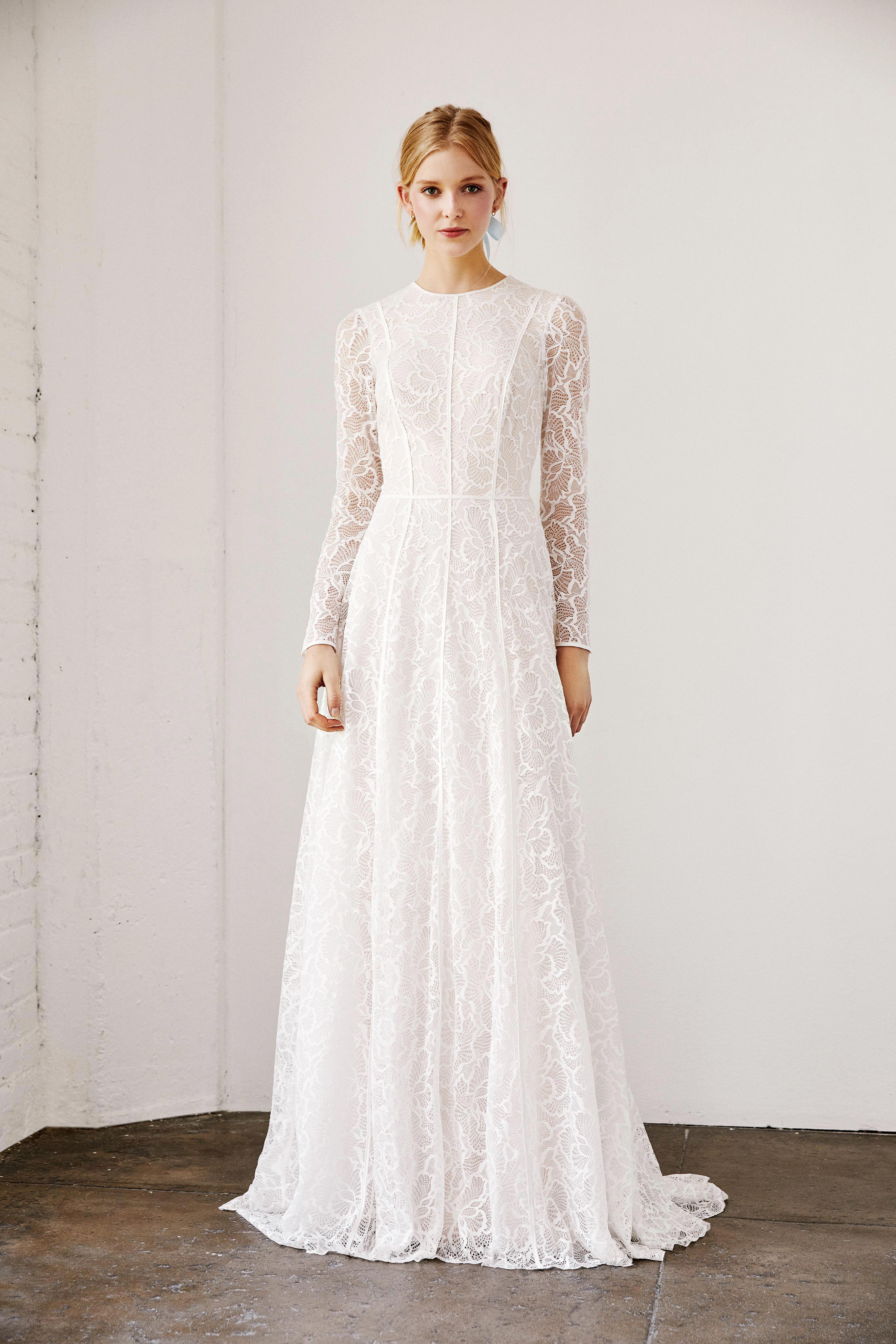 tadashi shoji wedding dress spring 2019 long sleeves lace a-line