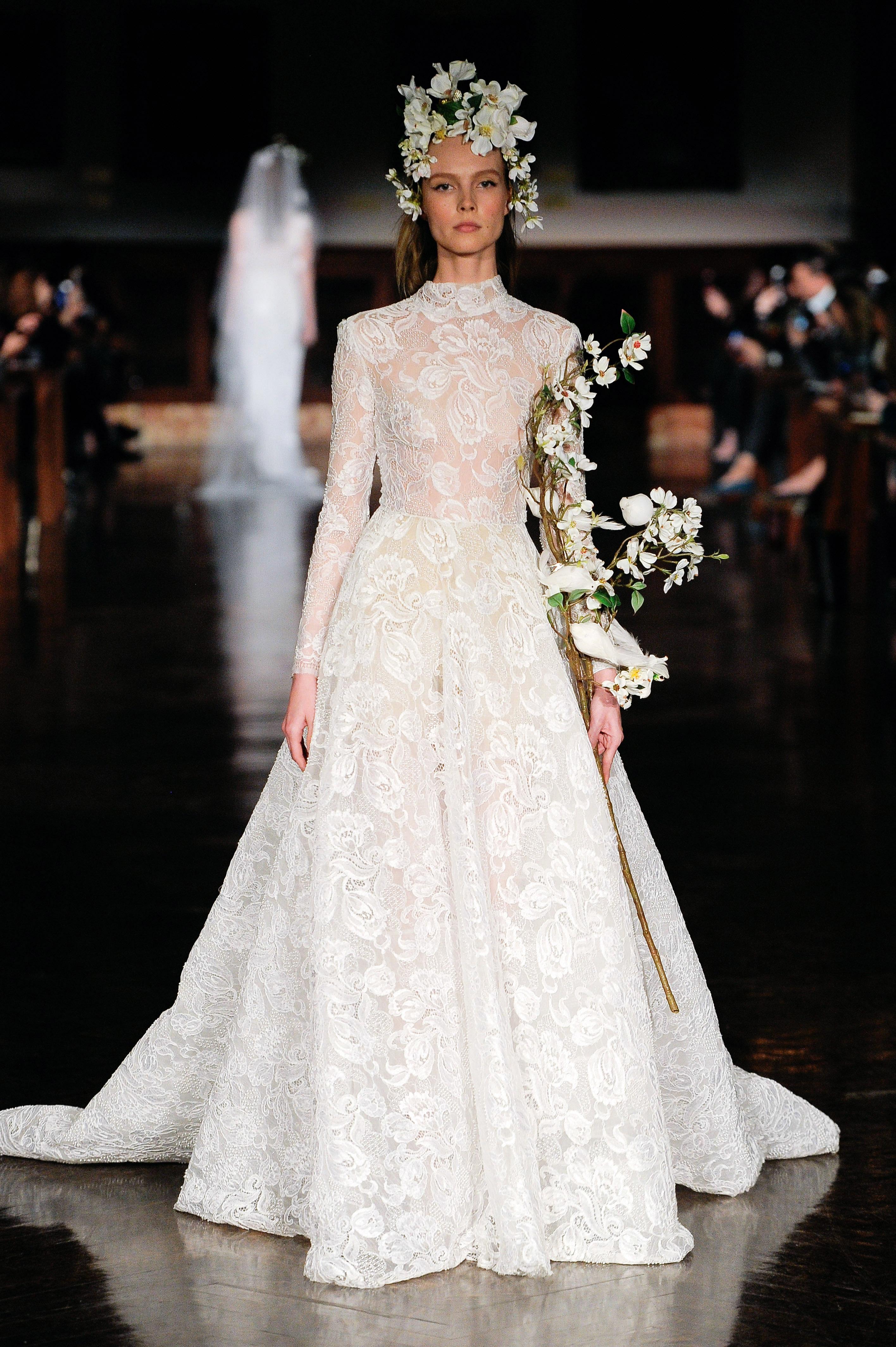 reem acra wedding dress spring 2019 long sleeves high neck lace