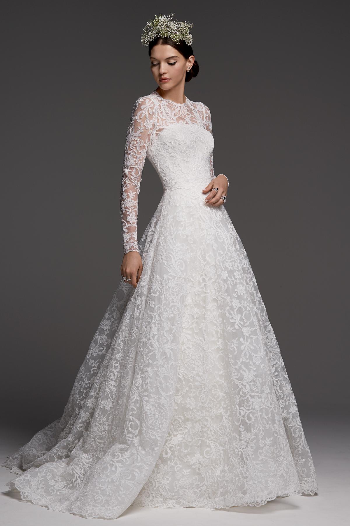 watters wedding dress fall 2018 a-line long sleeve lace