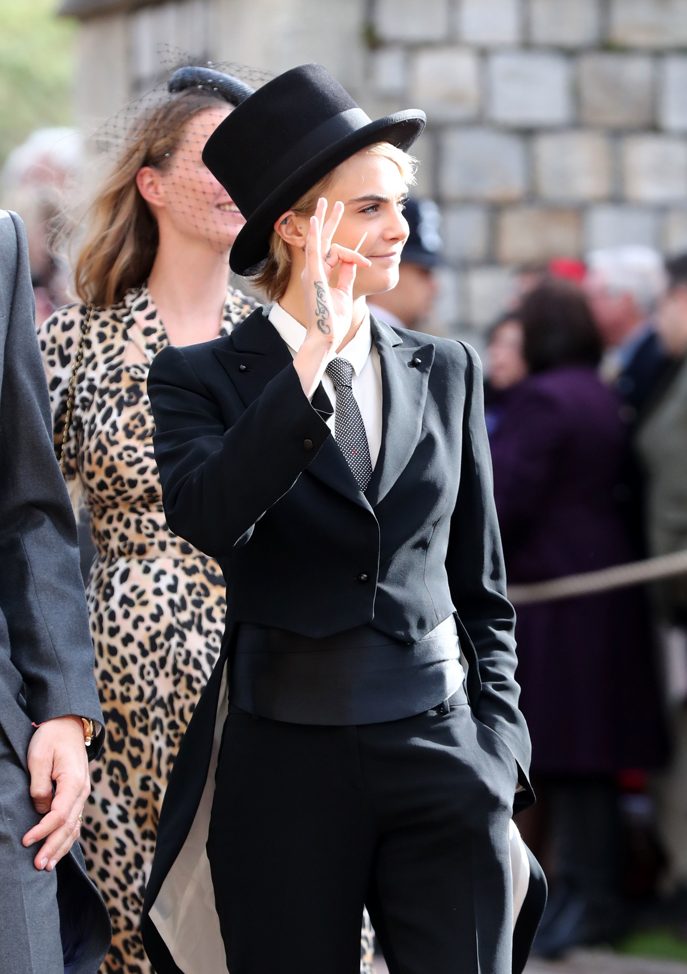 Cara Delevinge at Princess Eugenie 2018 royal wedding