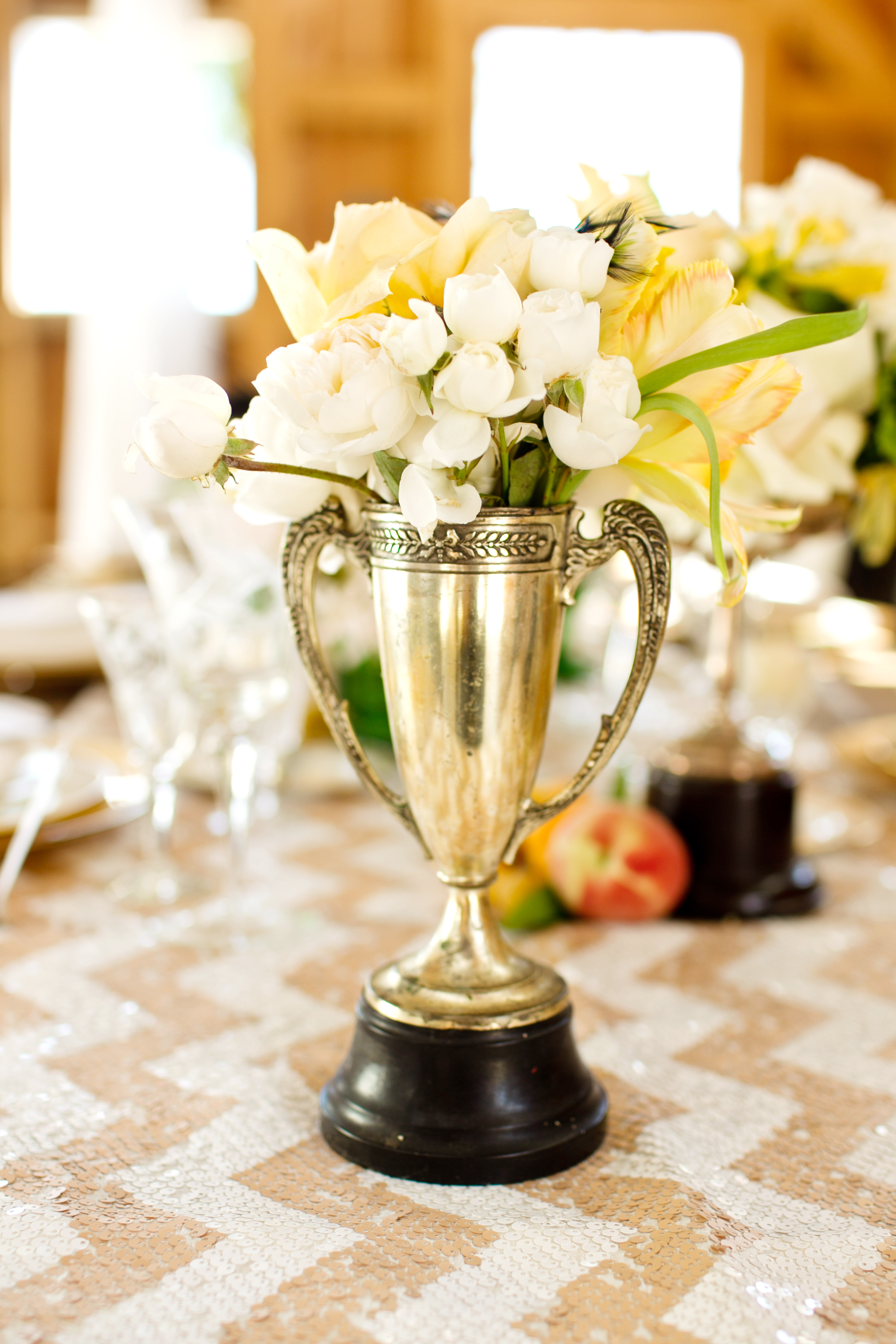 trophy centerpiece with tulips