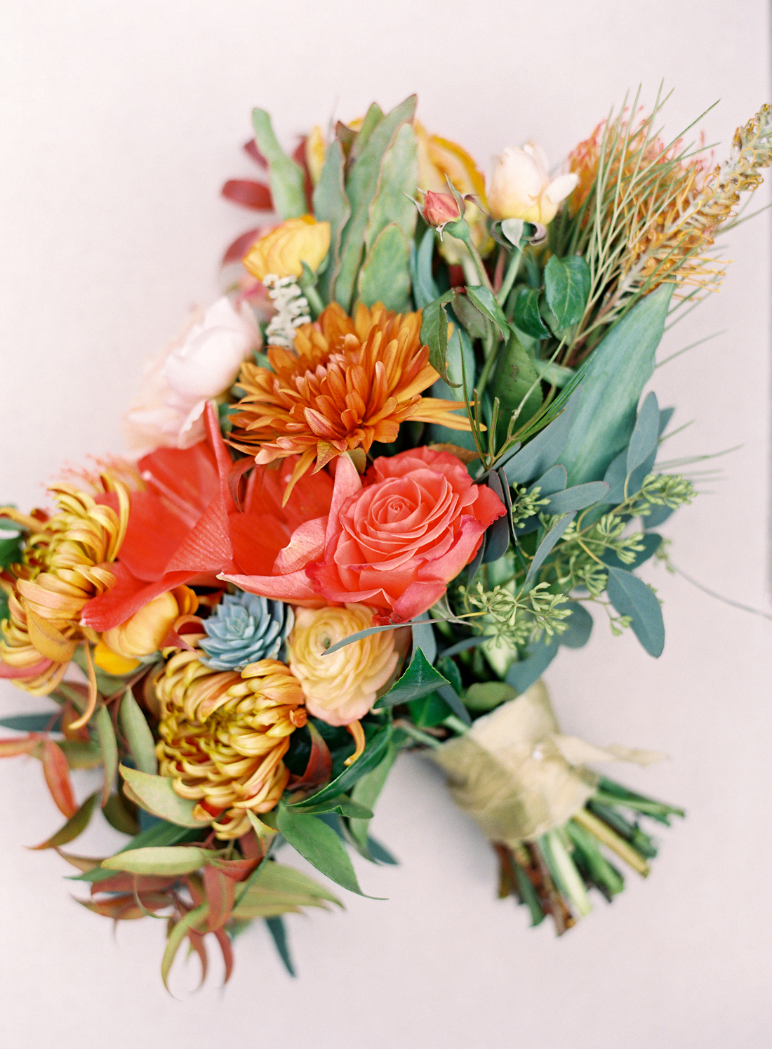 red and yellow fall floral bouquet arrangement