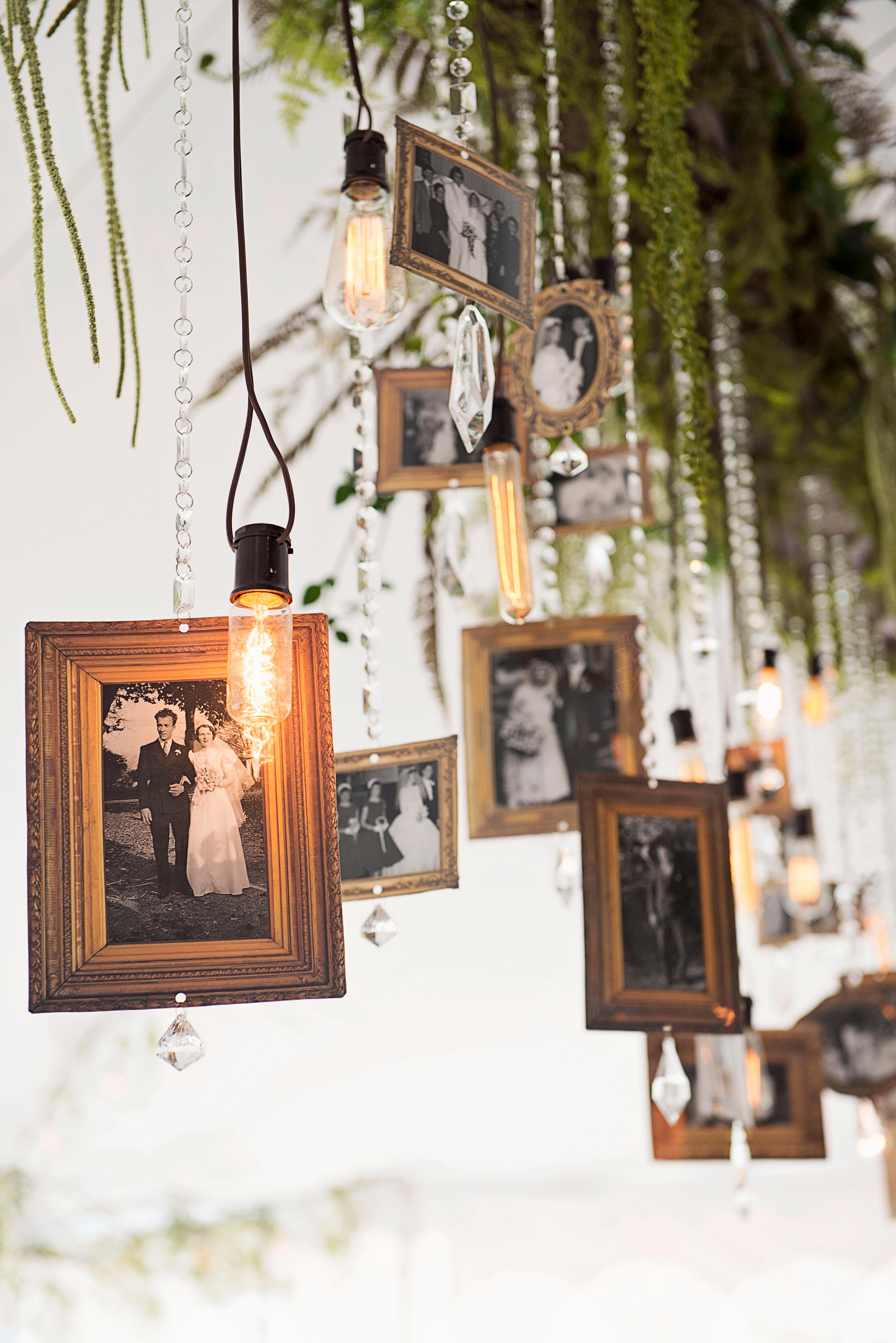 hanging frames and light bulbs wedding decor