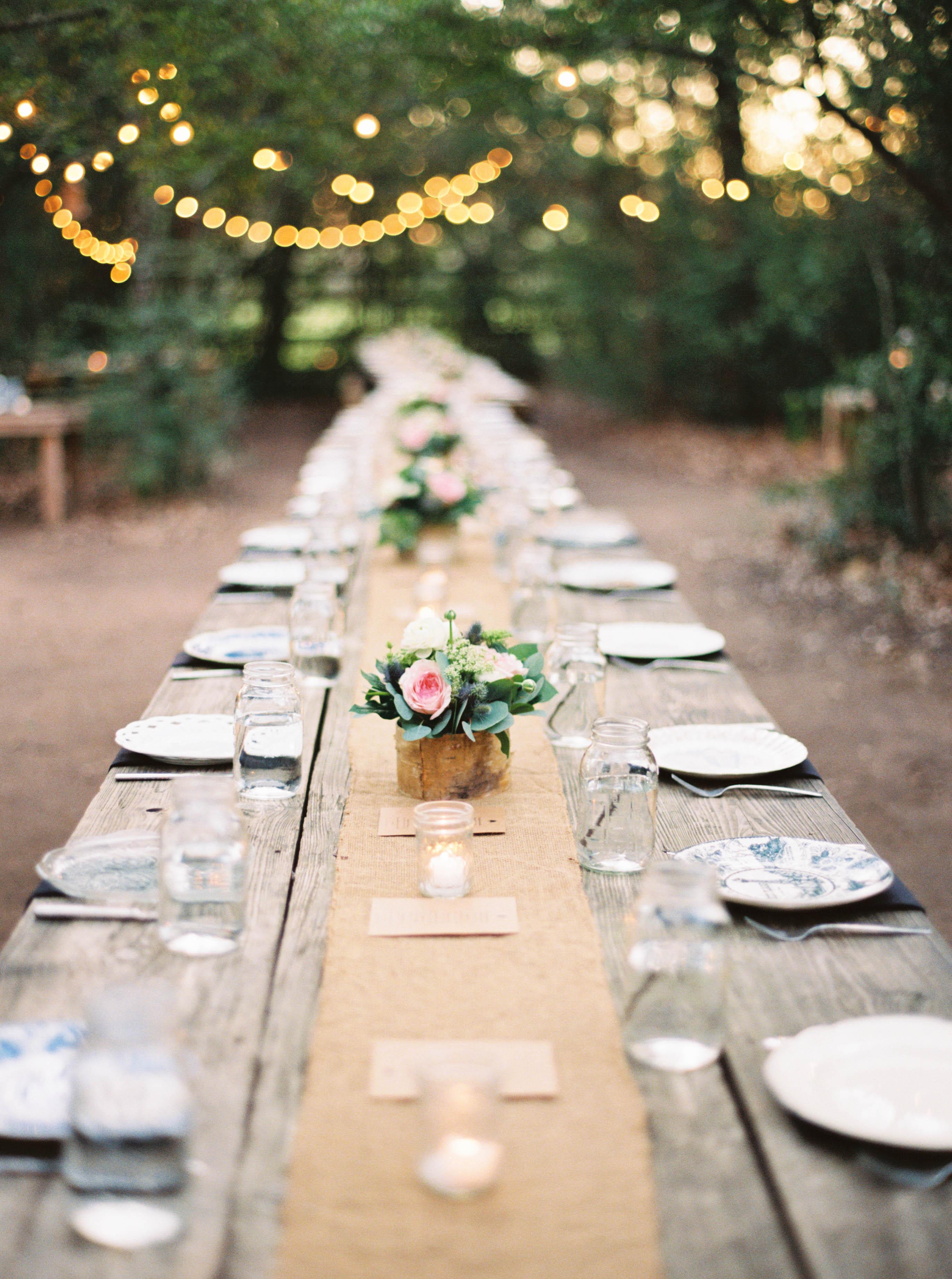 mason jar drinks table setting outdoors