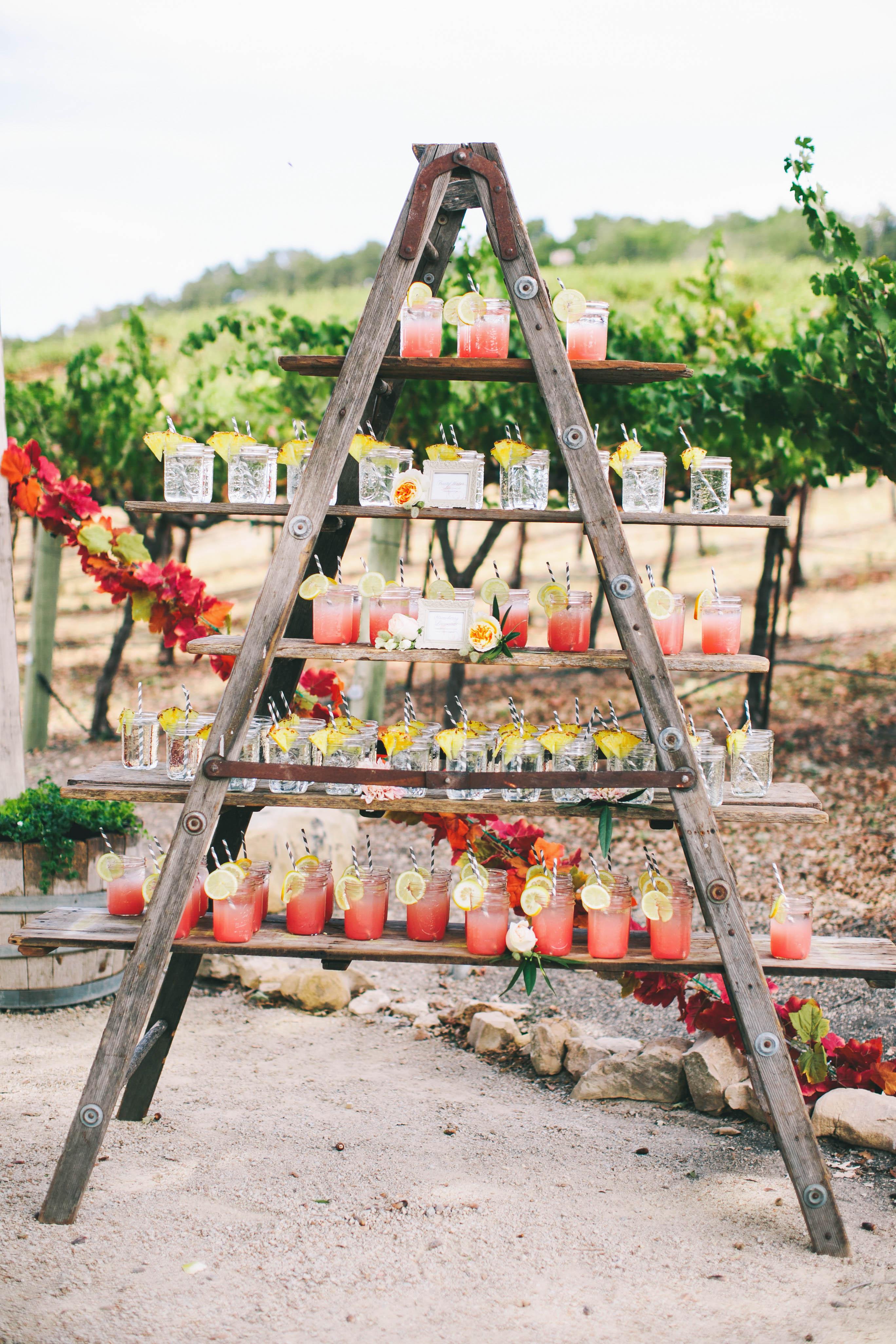 mason jar drinks on ladder shelf