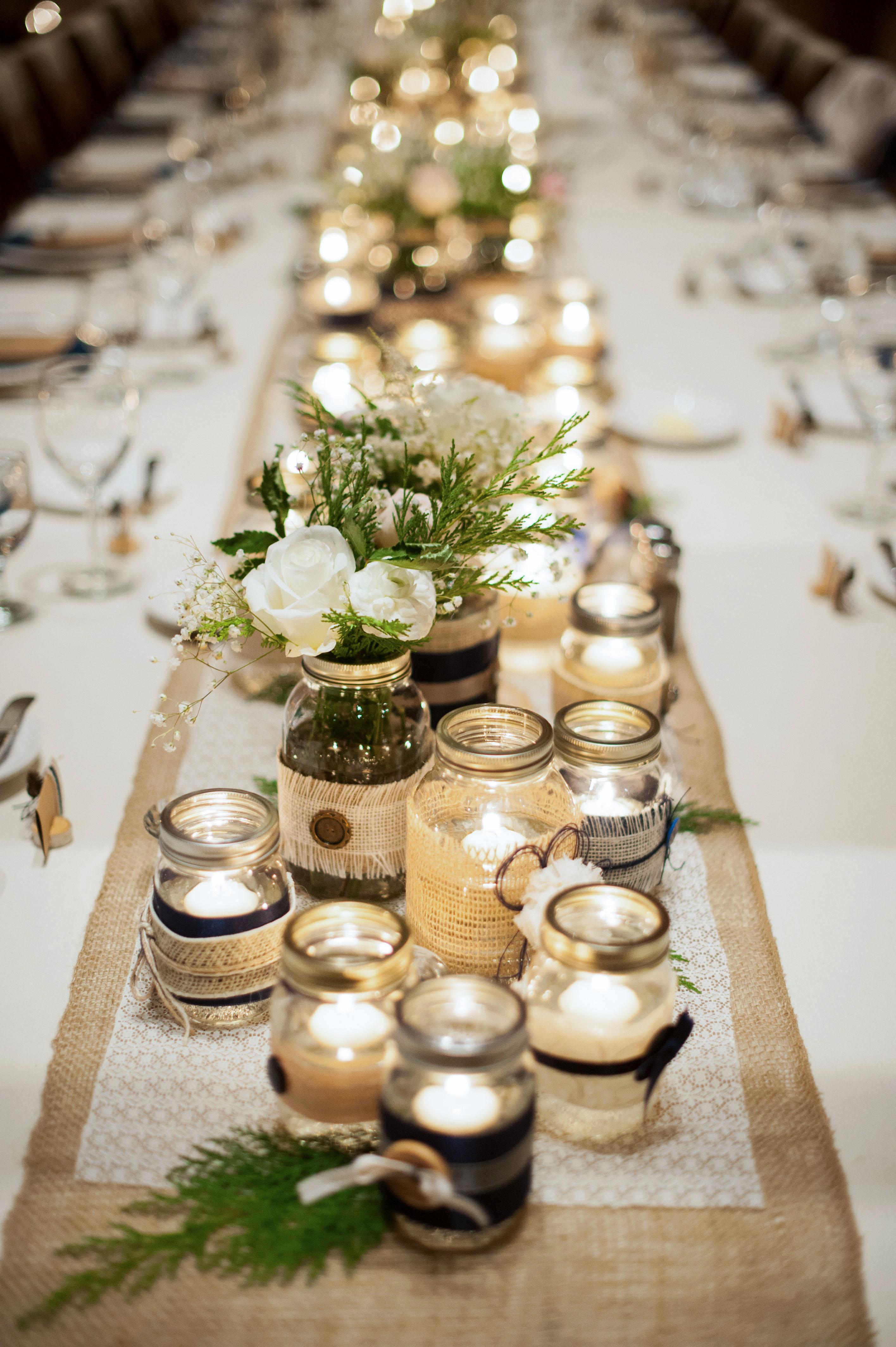 mason jar decor down center of table