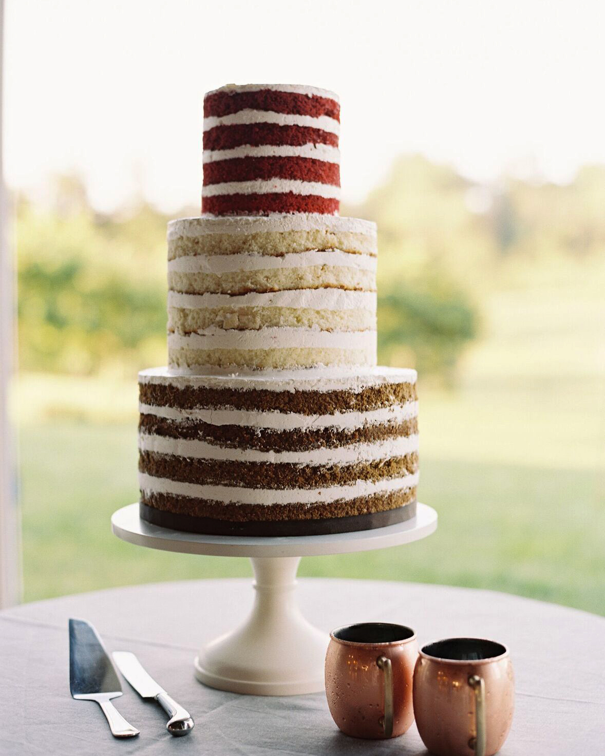 Three-Tiered Naked Wedding Cake