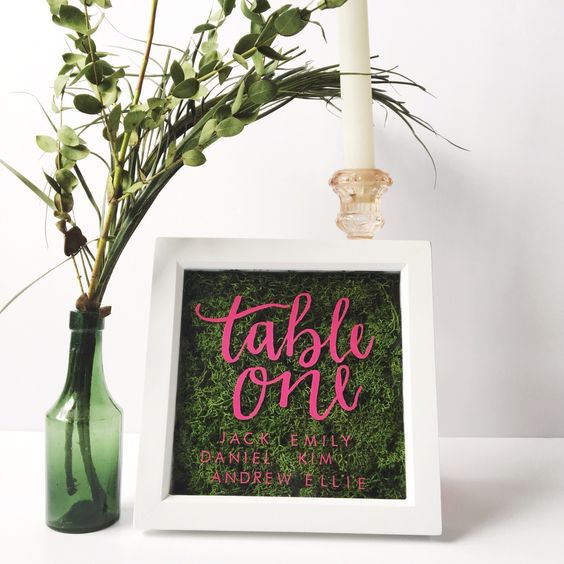 framed moss and pink paint table numbers
