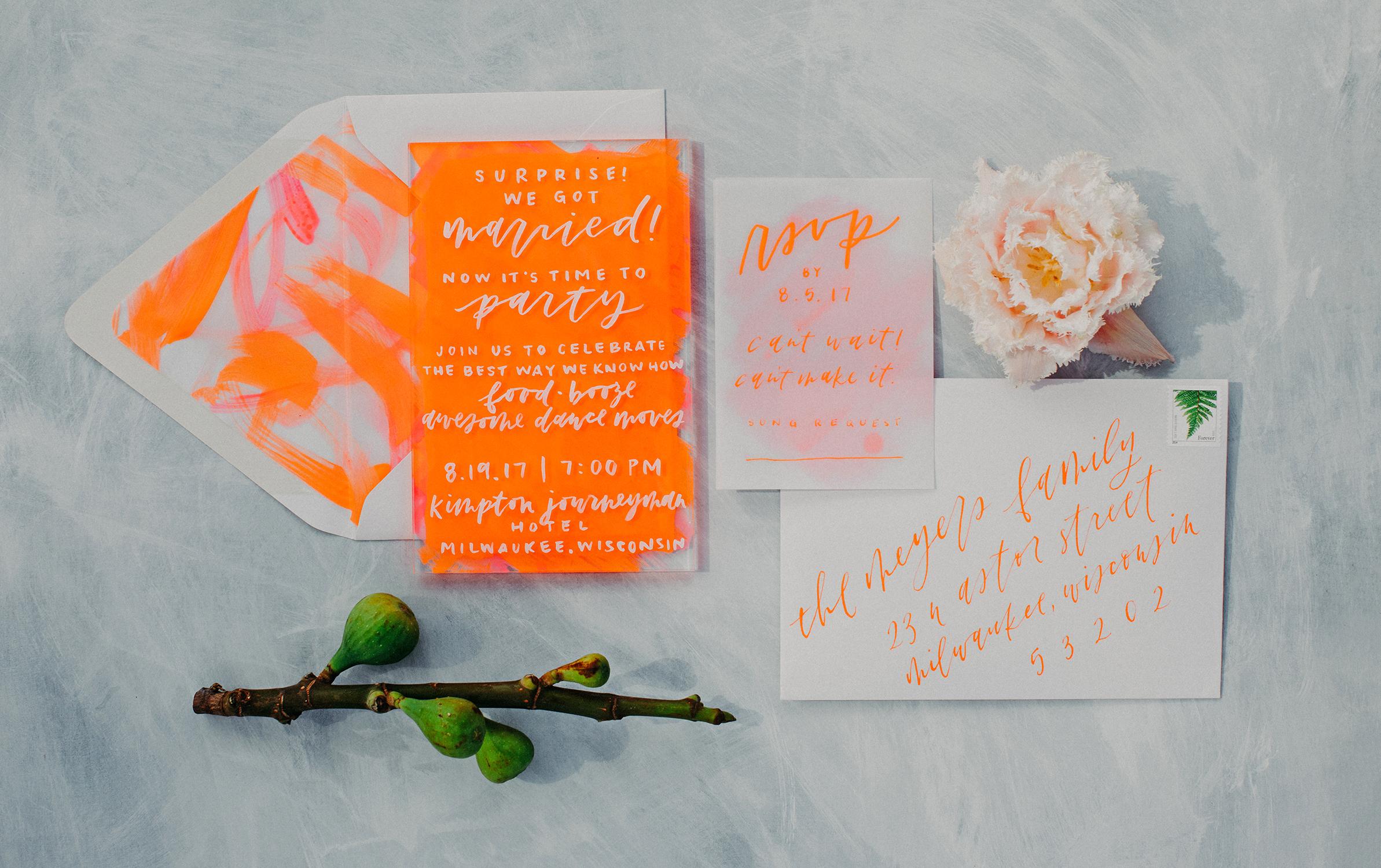 neon orange elopement announcements
