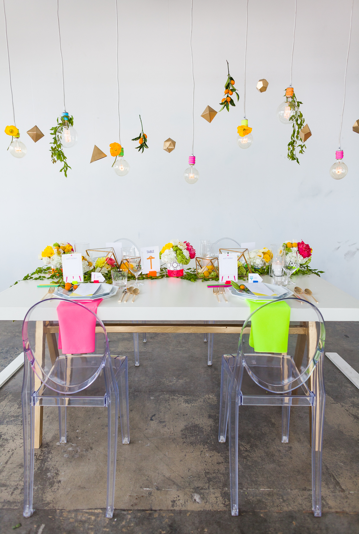 neon wedding modern table scape