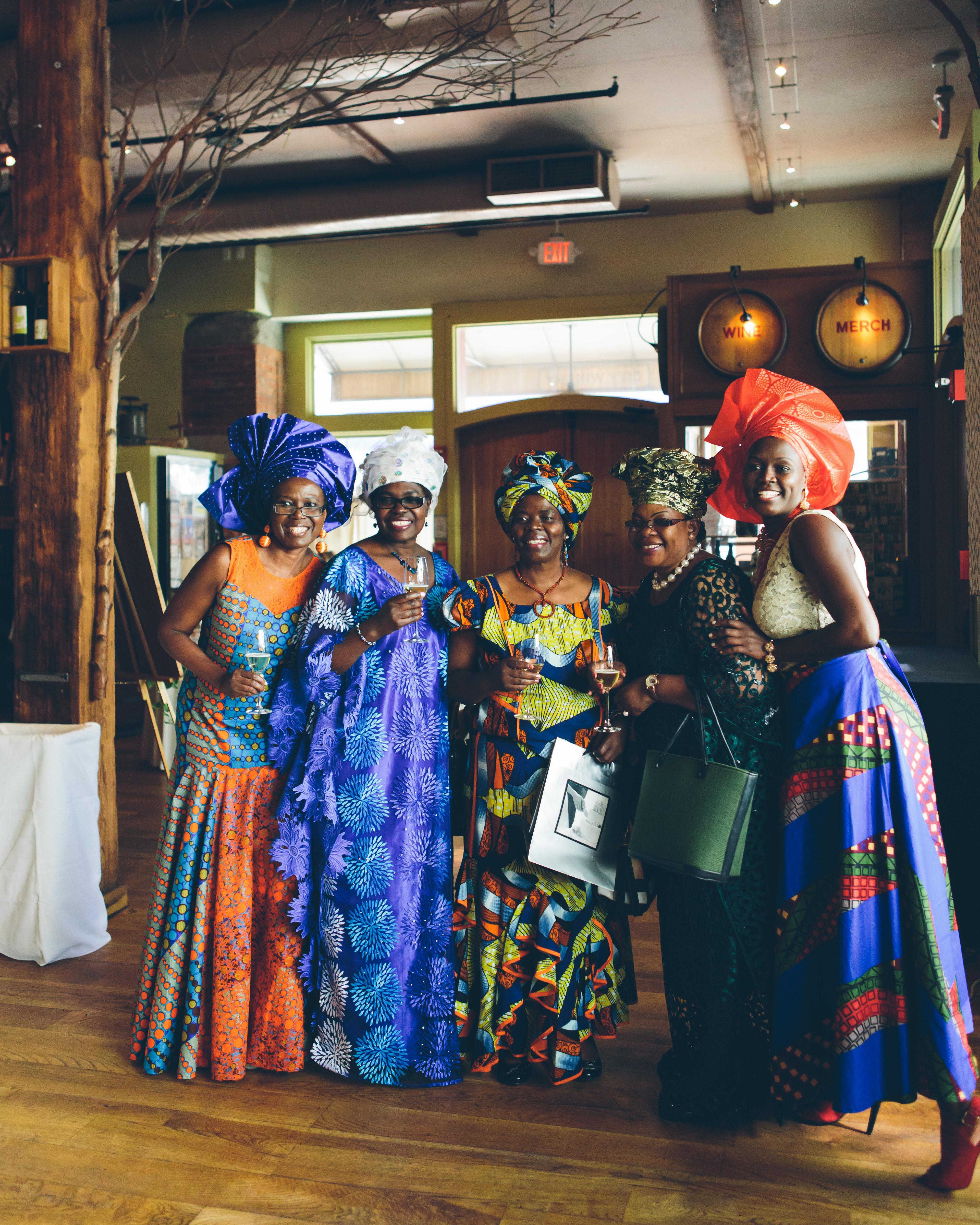 summer wedding guests bold warm prints