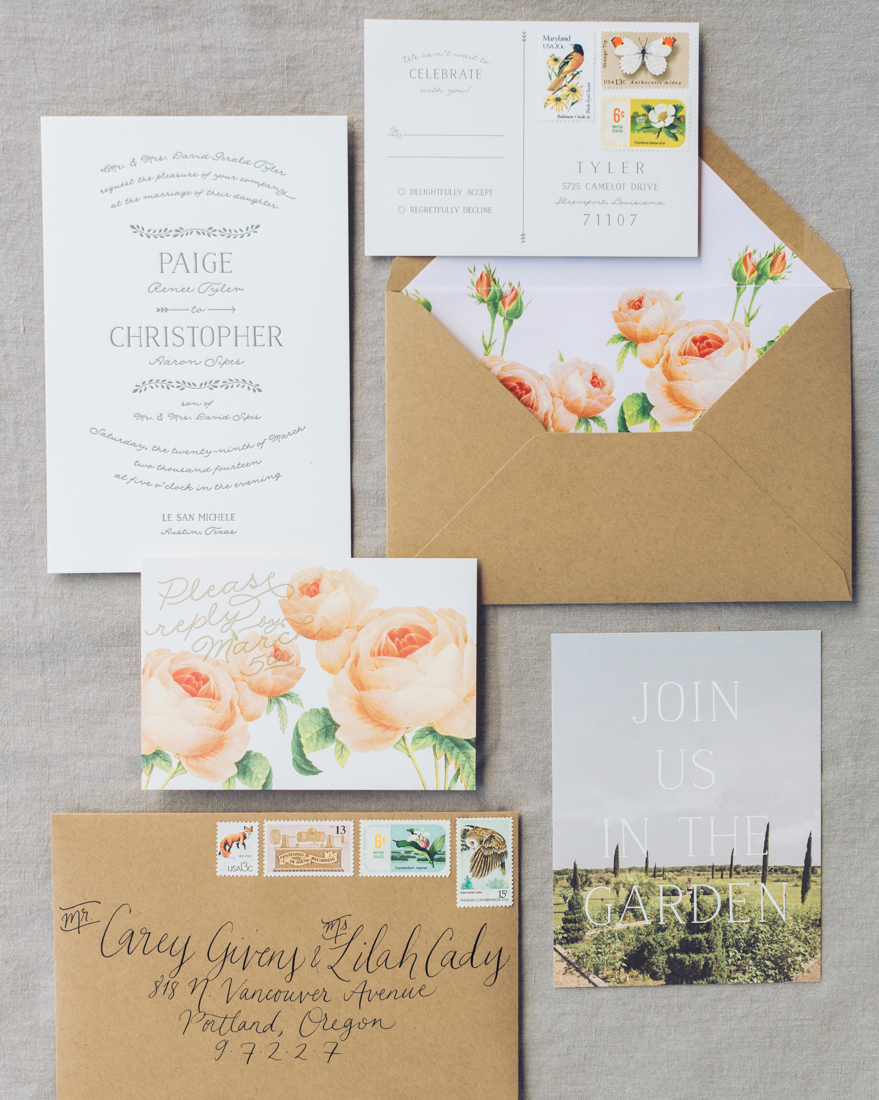 invitation suite with floral details
