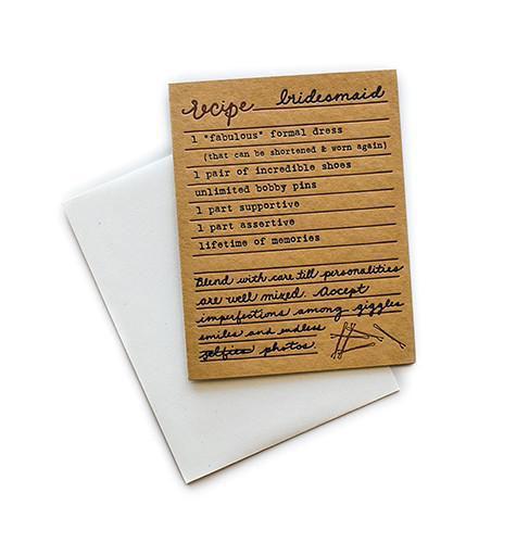 be my bridesmaid recipe card