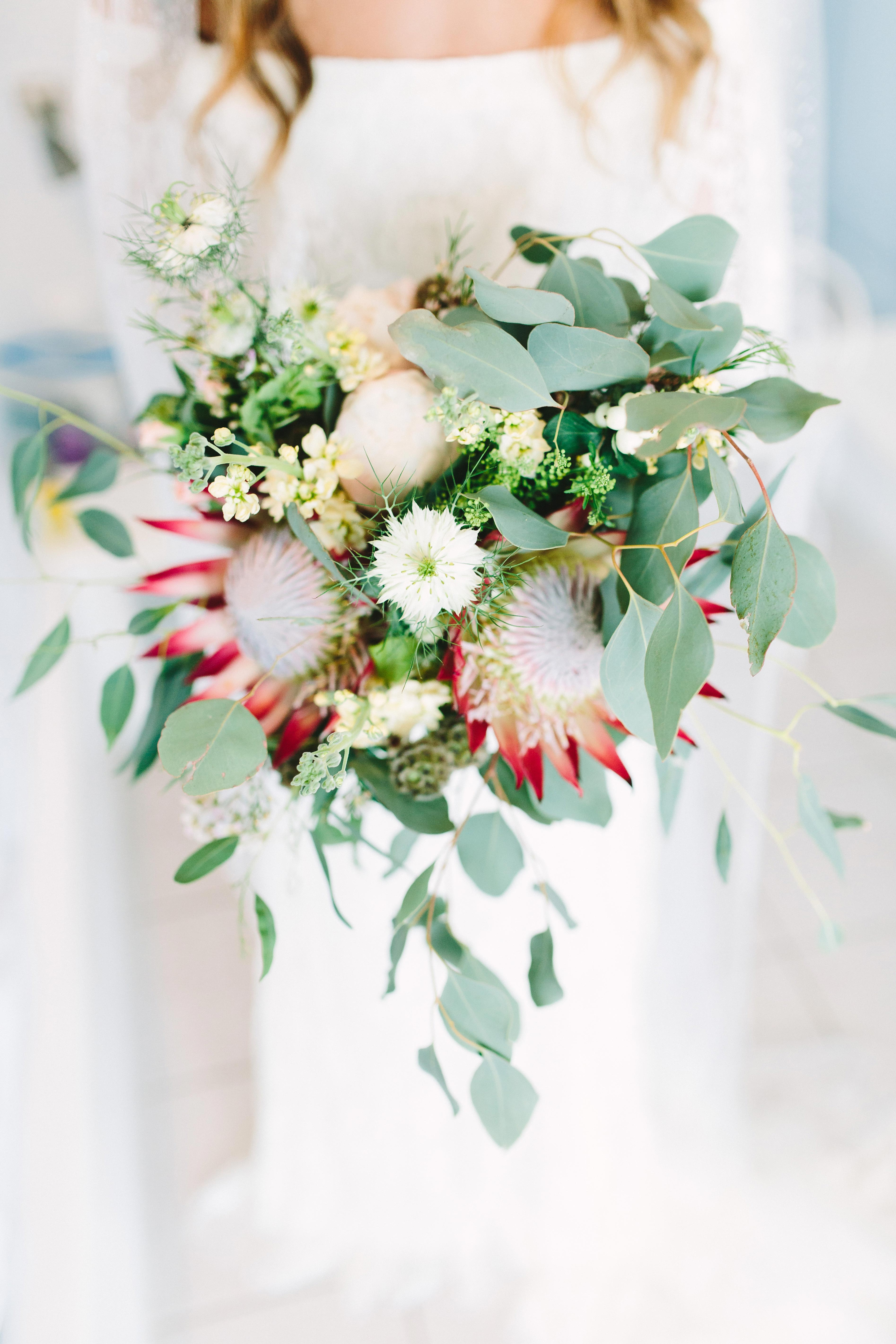Protea and Eucalyptus Wedding Bouquet
