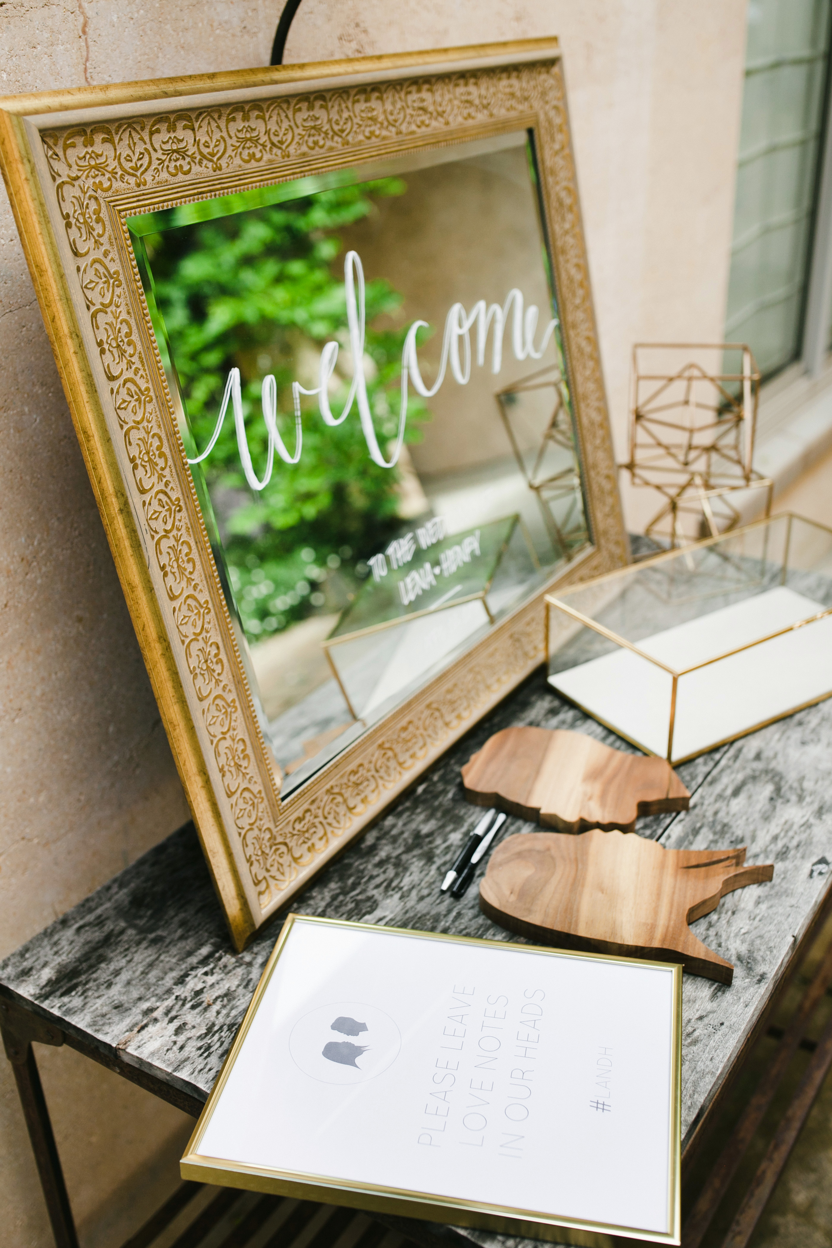 guest book welcome mirror wooden silhouettes