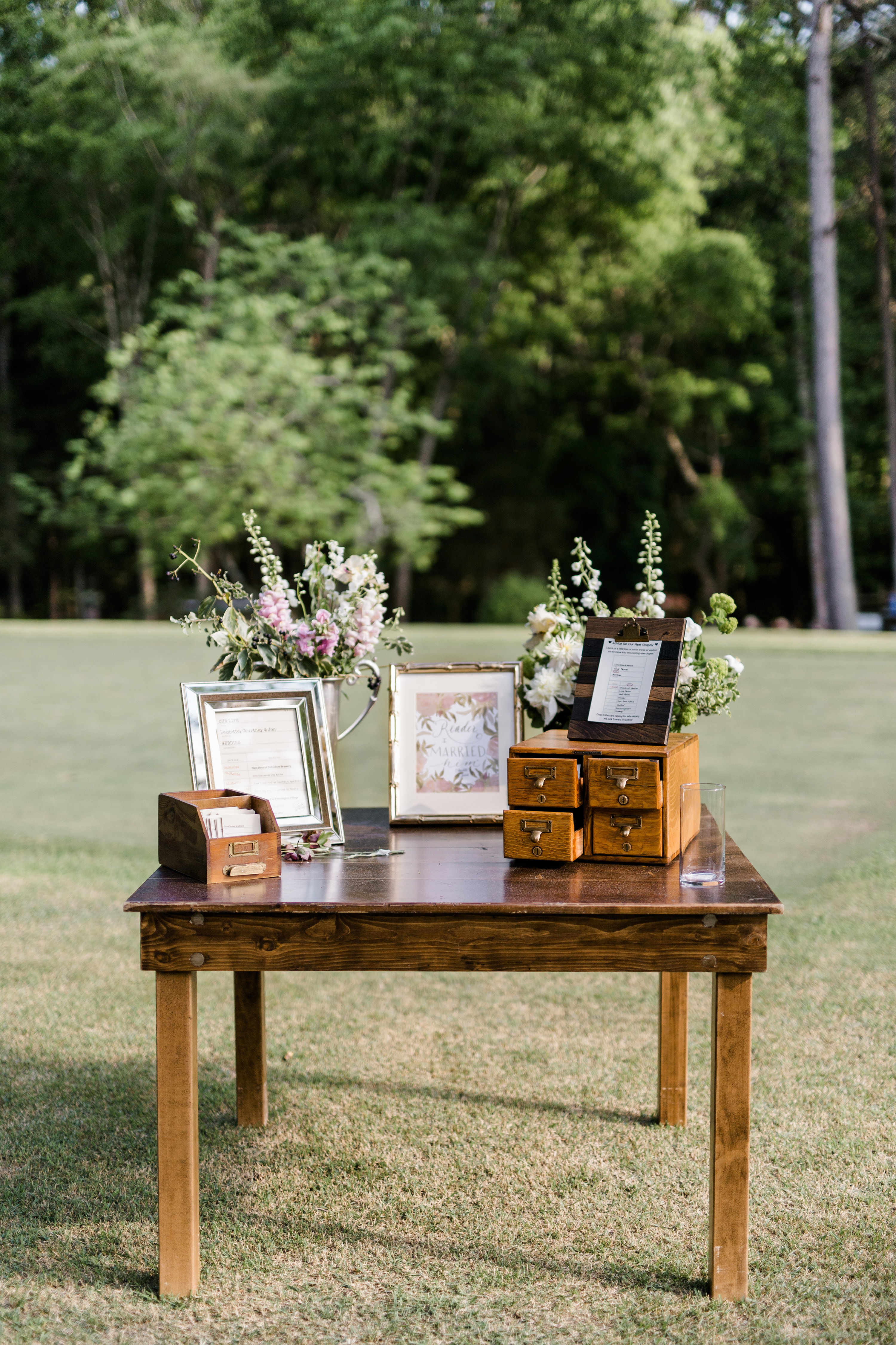 guest book library book cards table