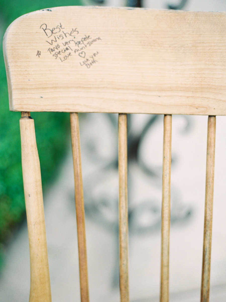 guest book signature wooden chair furnature