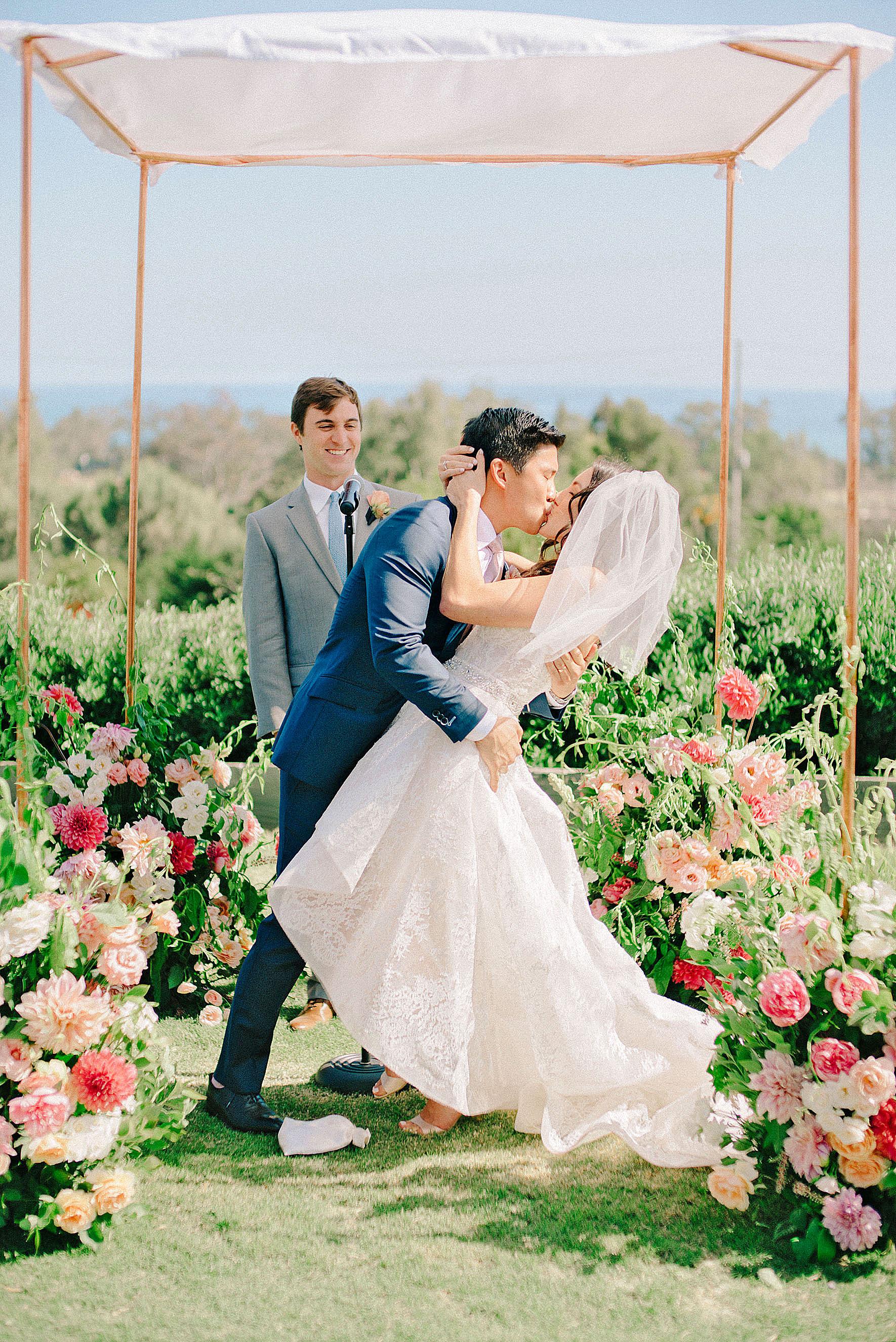 perri phillip wedding california ceremony kiss