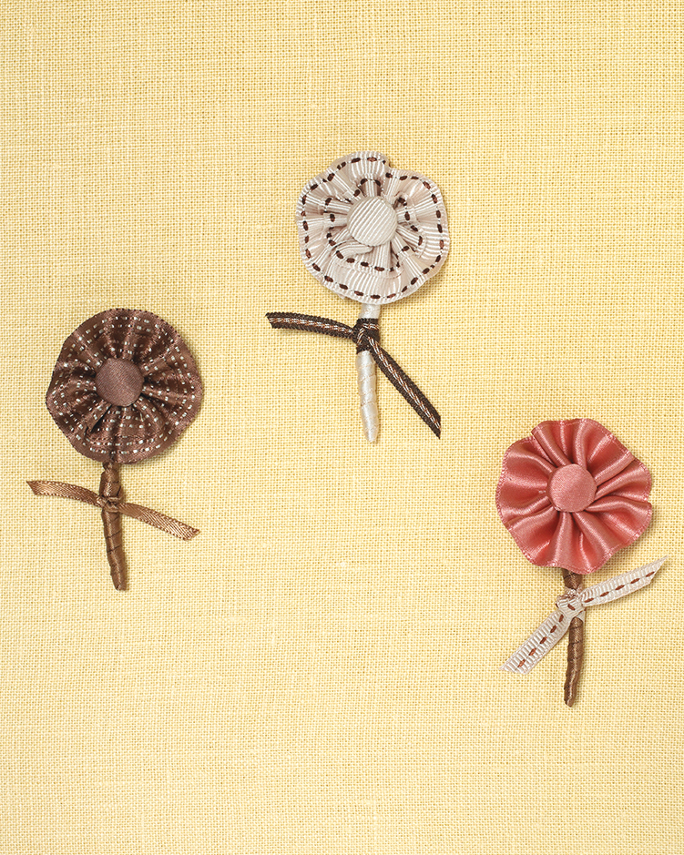 Ribbon-Flower Boutonnieres