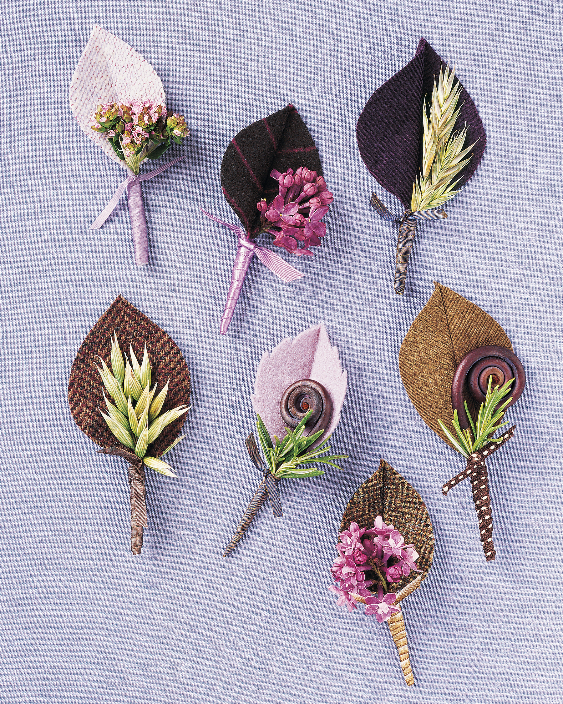 Fabric Leaf Boutonnieres