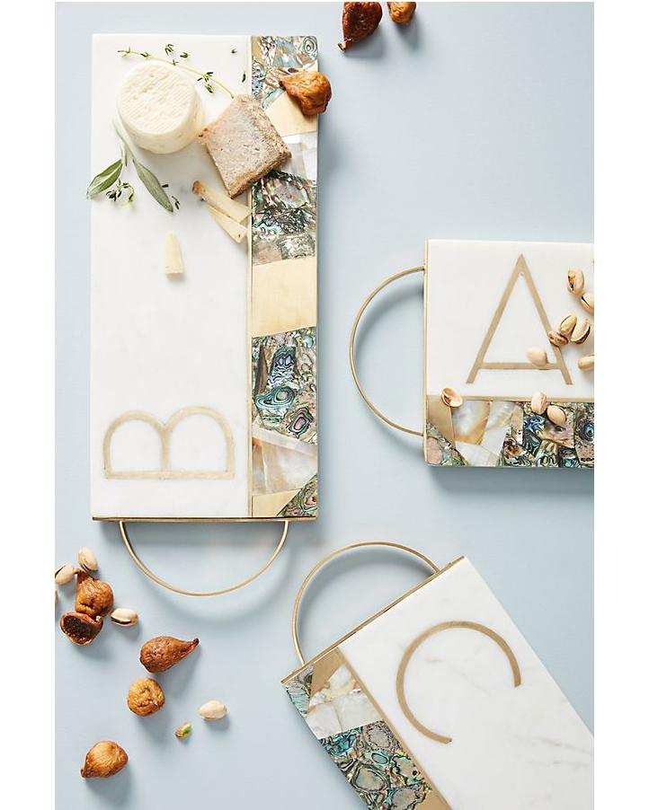 white marble Monogram Cheese Board