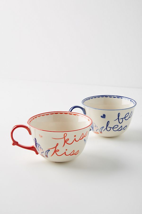 Kisses Mugs, Set of Two