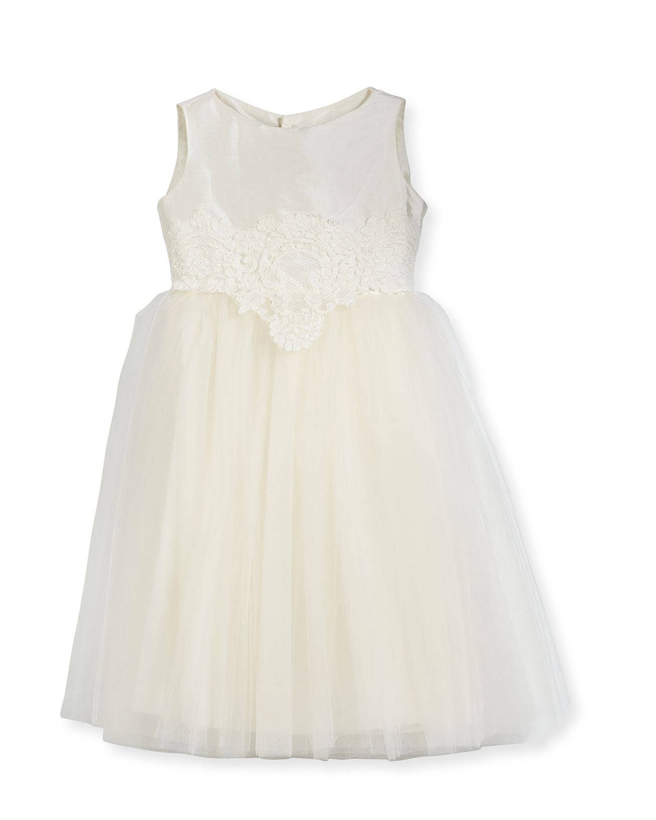 winter flower girl sleeveless white lace dress with tule skirt