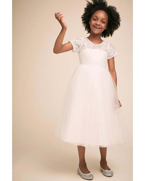winter flower girl dress white with lace short sleeves