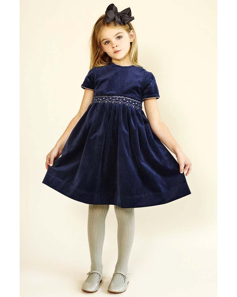 winter flower girl short-sleeved blue velvet dress