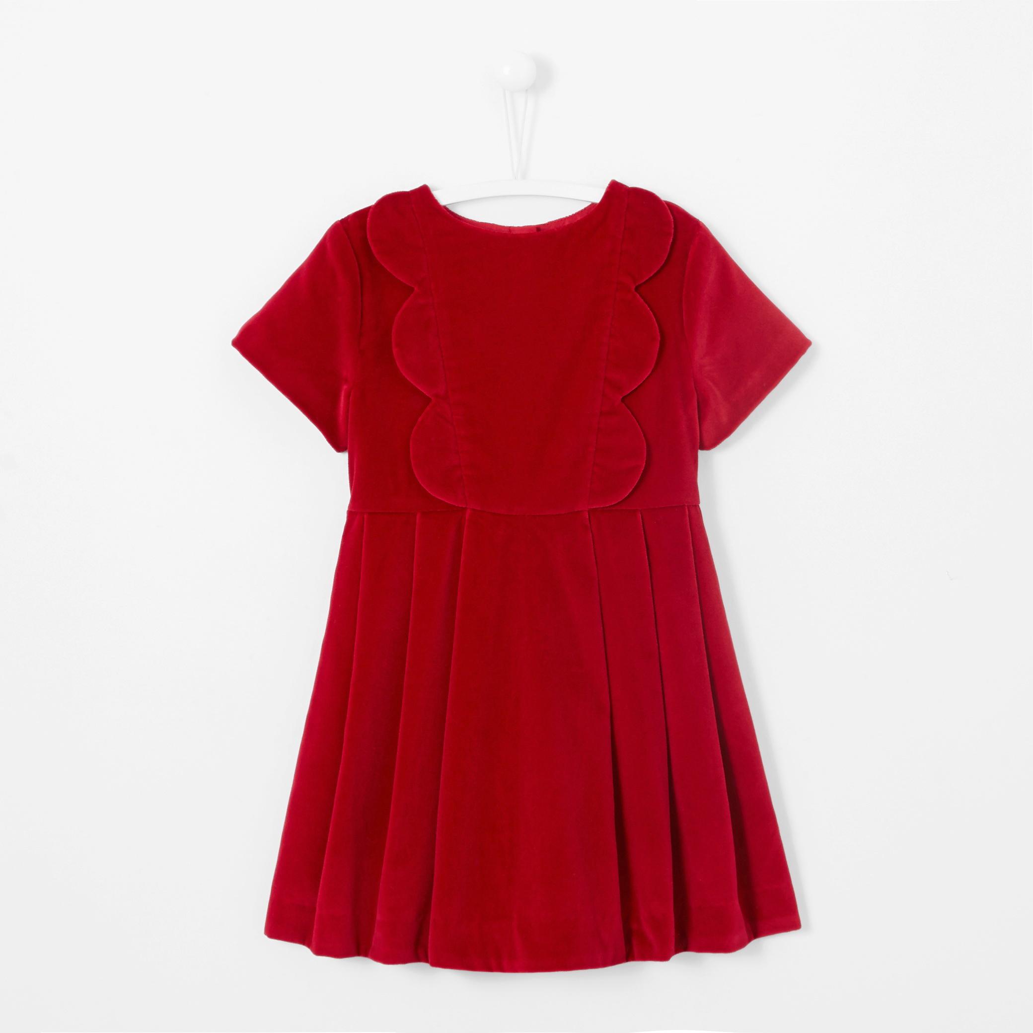 winter flower girl red short-sleeved velvet dress