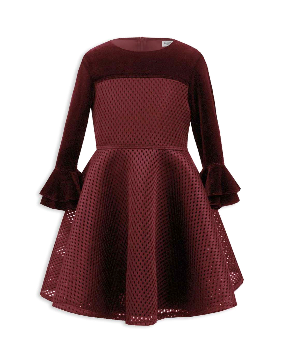 winter flower girl maroon dress with long bell sleeves