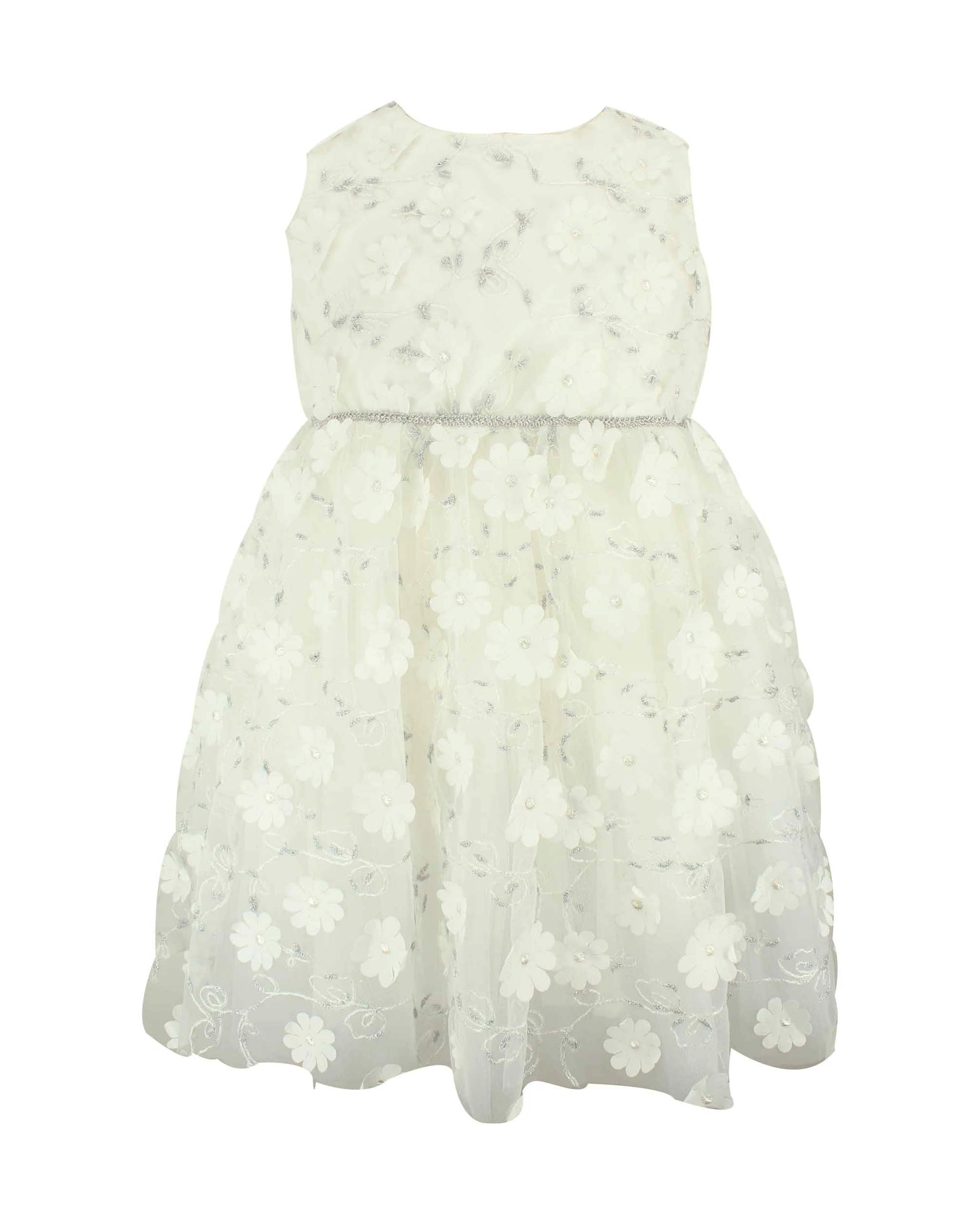 winter flower girl sleeveless metallic floral embroidery dress
