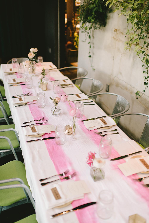 pink bridal shower table runner