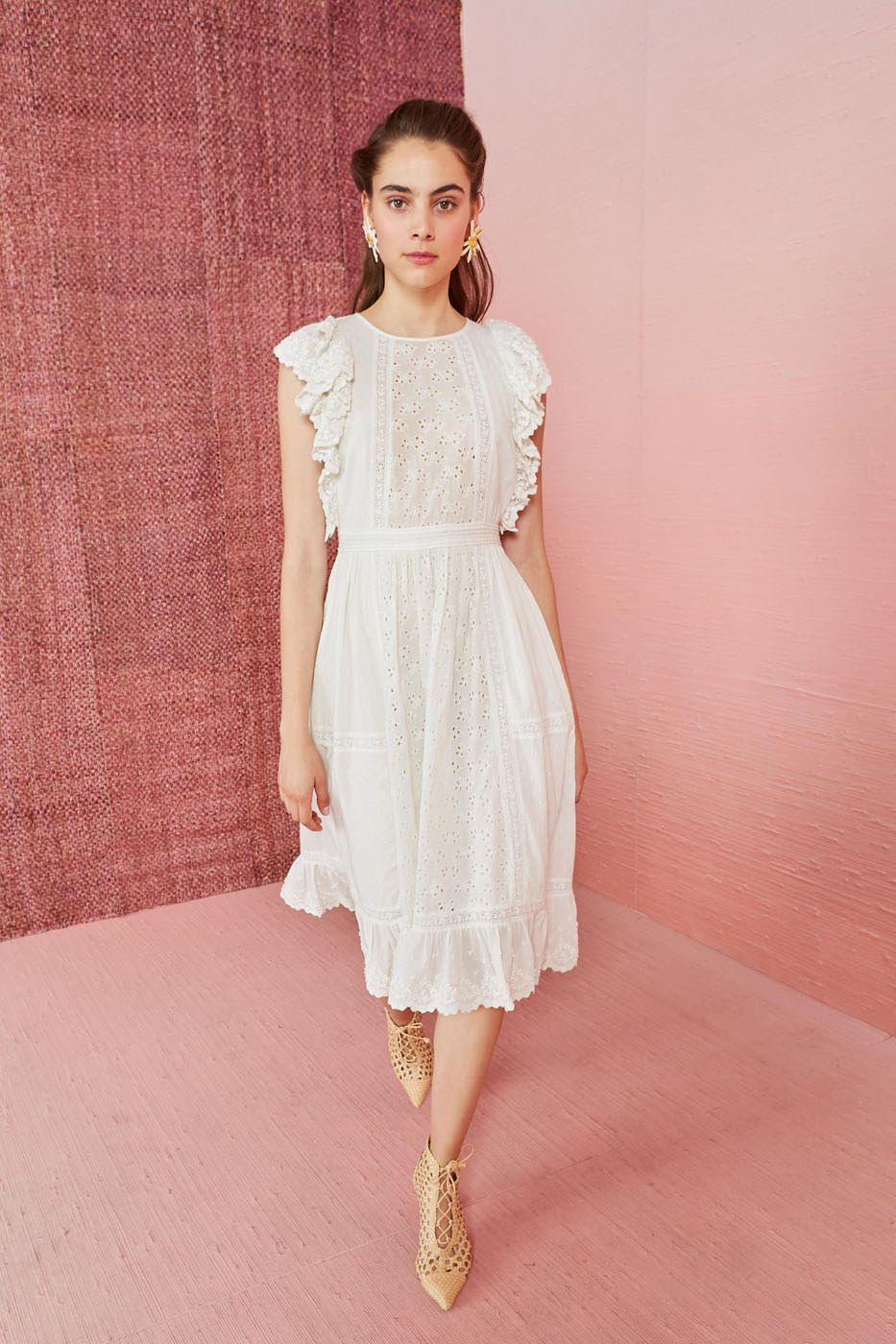 spring bridal shower dress white eyelet ruffled midi