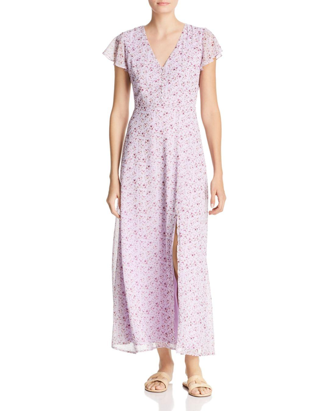 spring bridal shower dress purple floral print maxi
