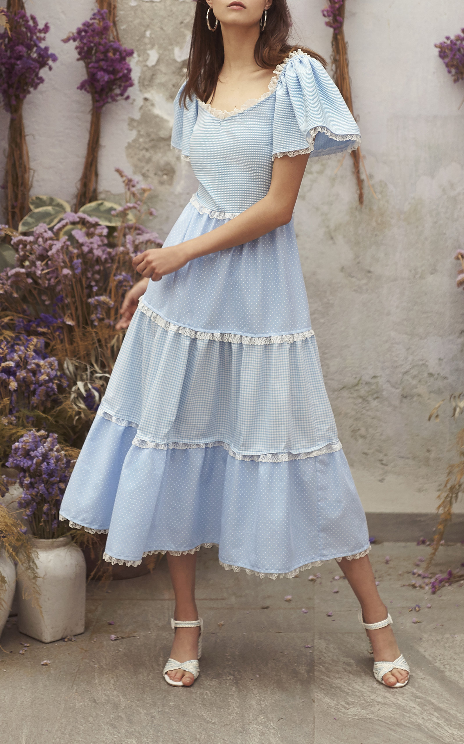 spring bridal shower dress blue ruffled midi