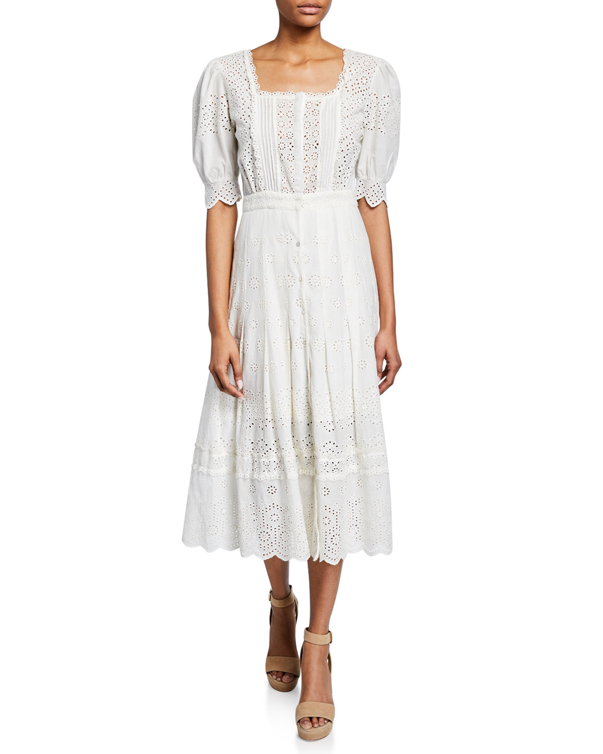 spring bridal shower dress floral white eyelet midi