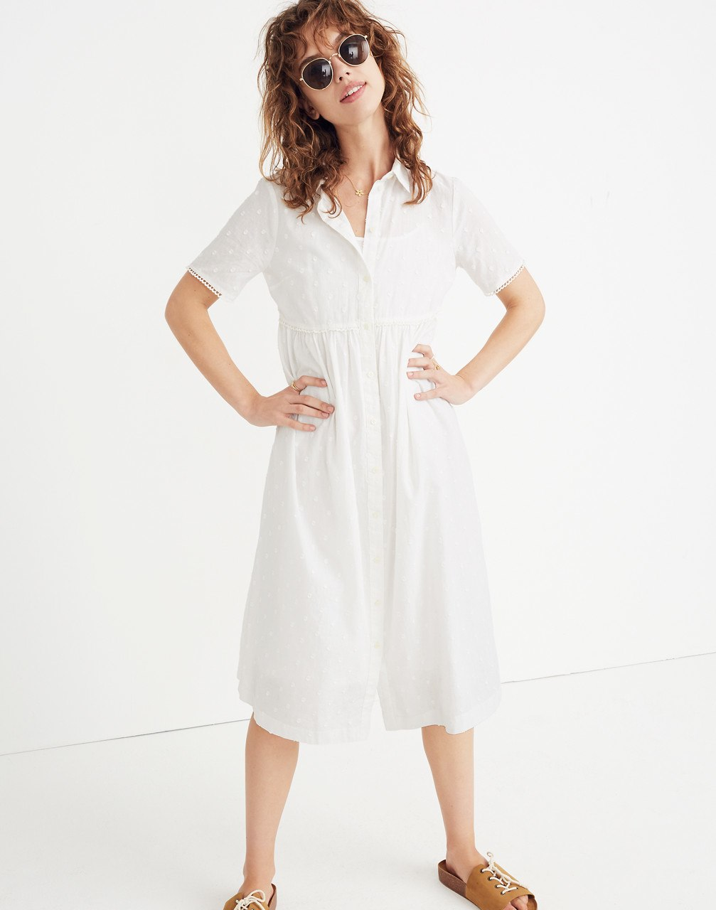 spring bridal shower dress white midi shirt dress